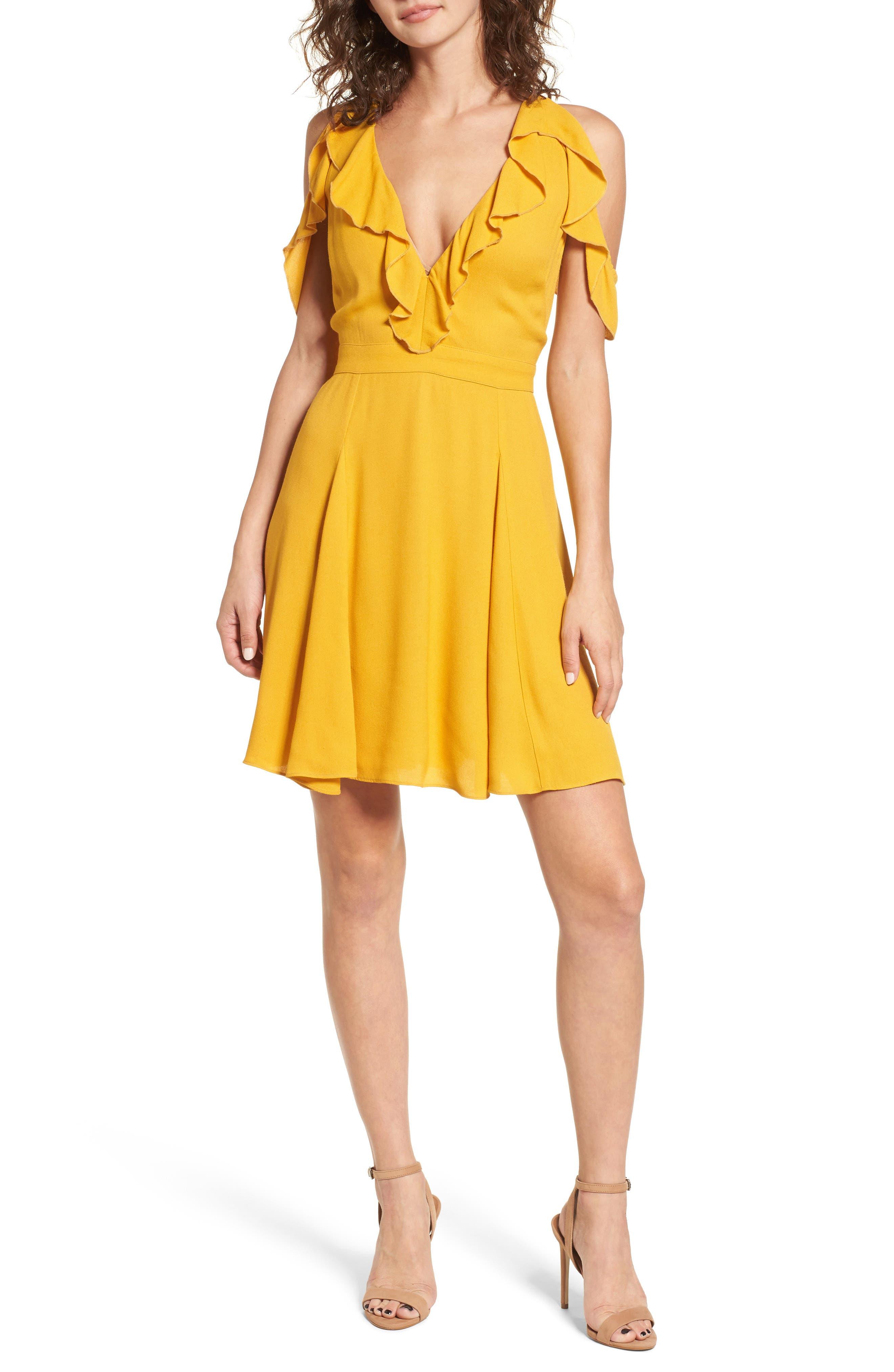 Enzo Cold Shoulder Fit & Flare Dress,                             Main thumbnail 1, color,