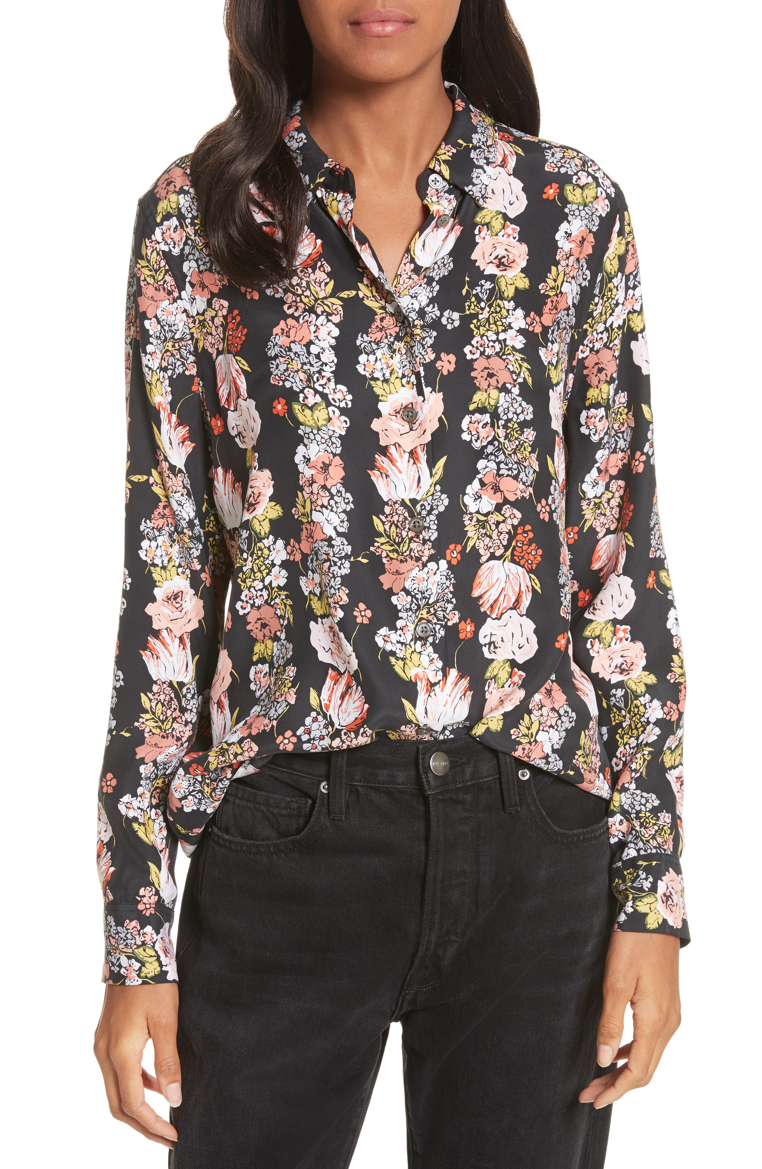 Essential Floral Silk Shirt,                         Main,                         color, 006