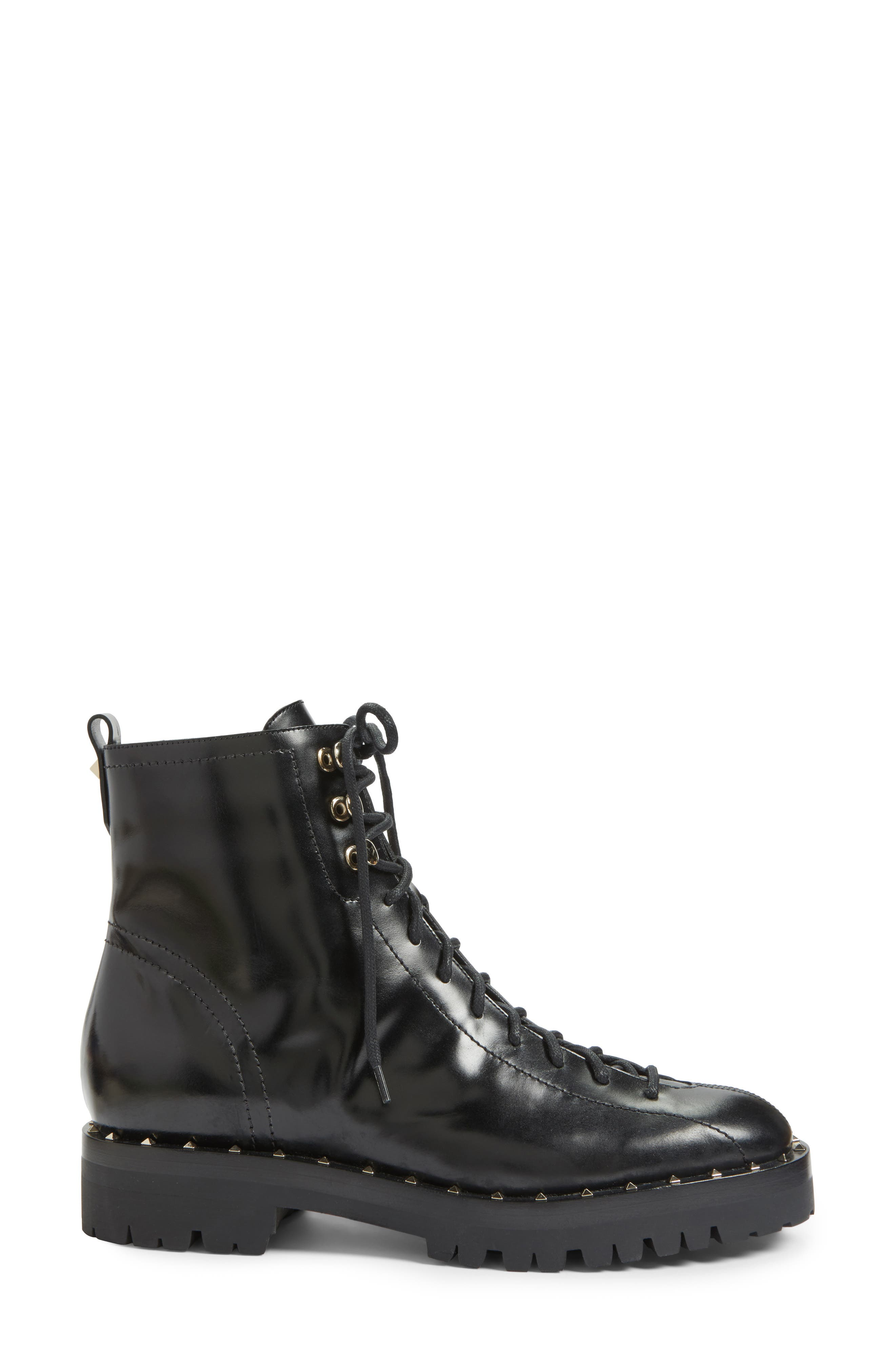 Rockstud Combat Boot,                             Alternate thumbnail 3, color,                             001