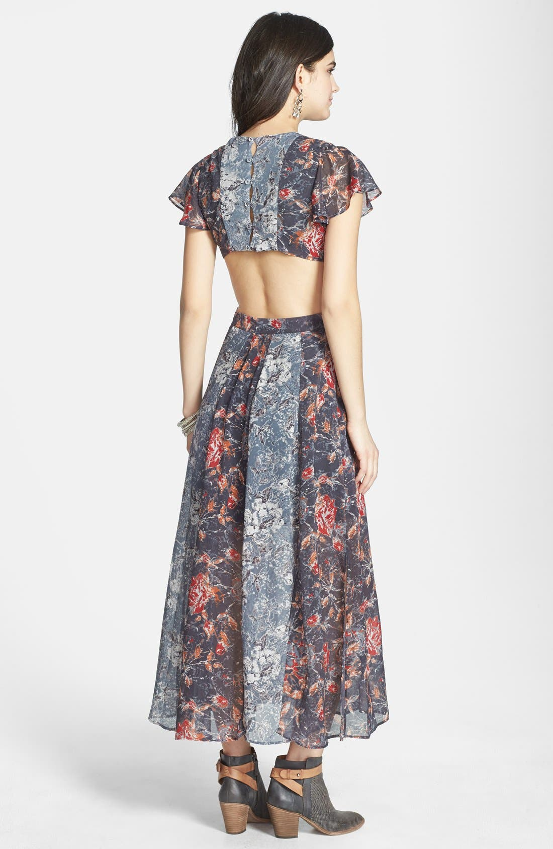 FREE PEOPLE,                             'Jasper' Mixed Print Twist Cutout Dress,                             Alternate thumbnail 3, color,                             400