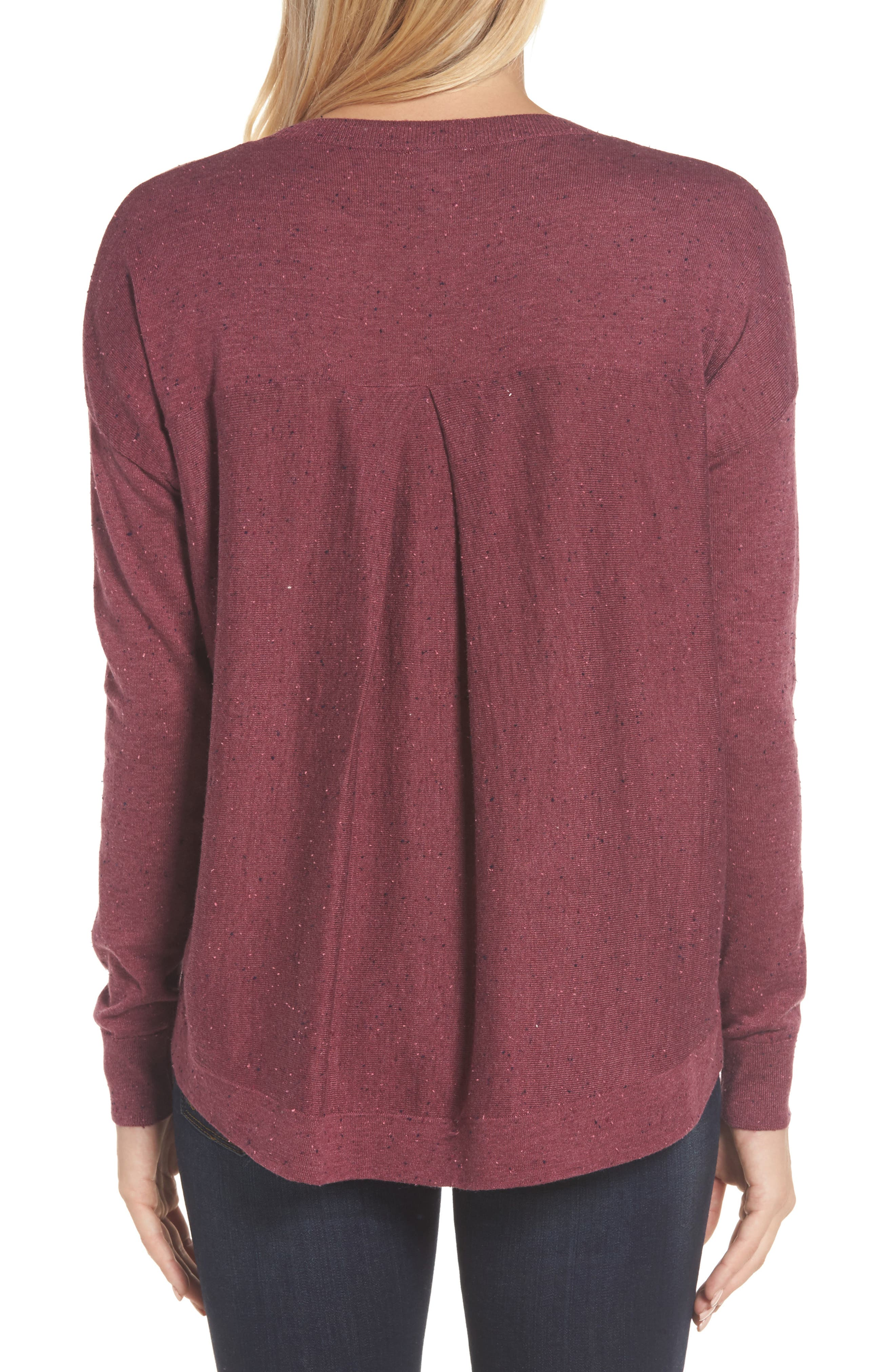 Pleat Back High/Low Crewneck Sweater,                             Alternate thumbnail 14, color,