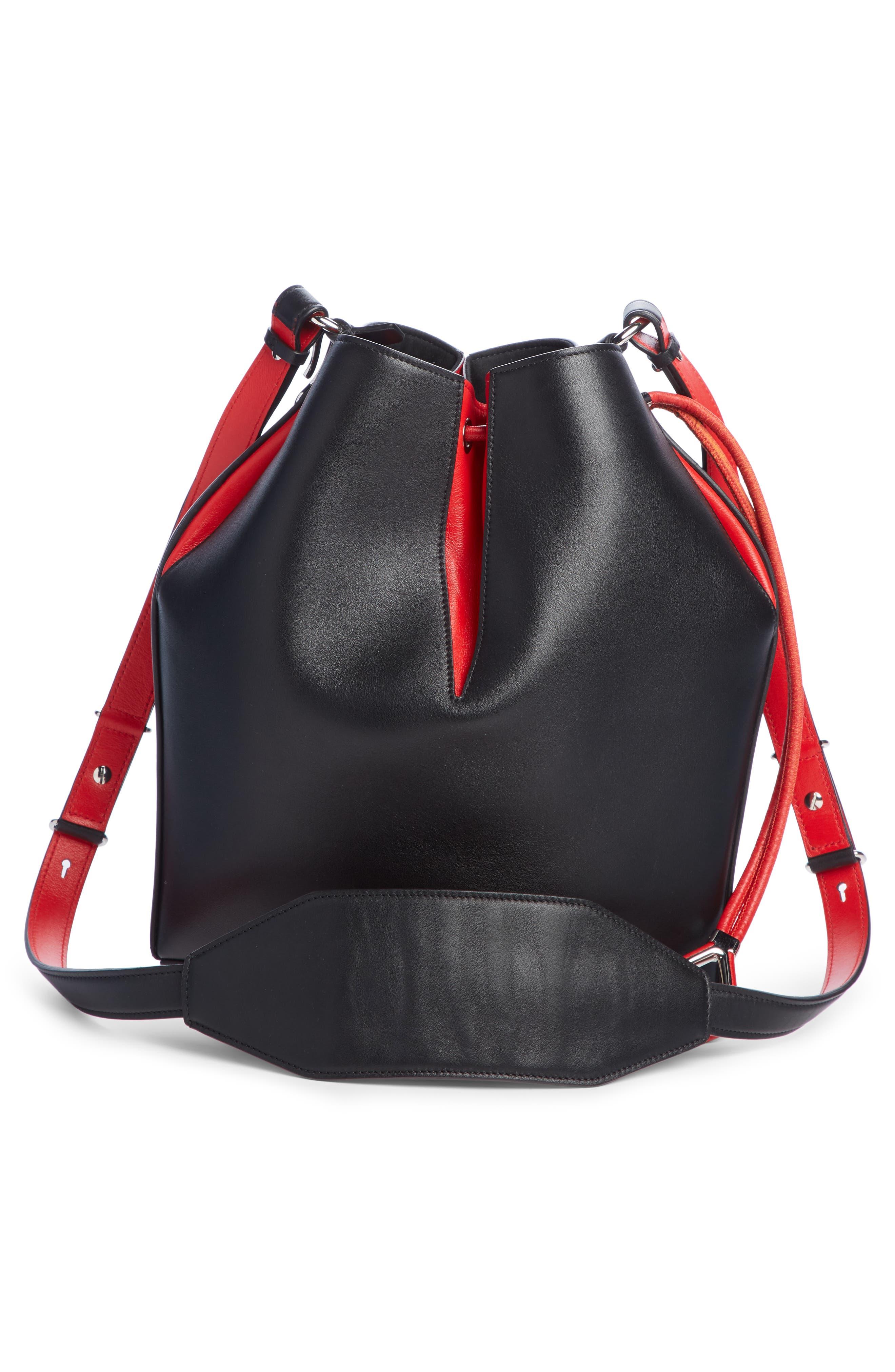 Bicolor Leather Bucket Bag,                             Alternate thumbnail 3, color,                             BLACK/ LUST RED