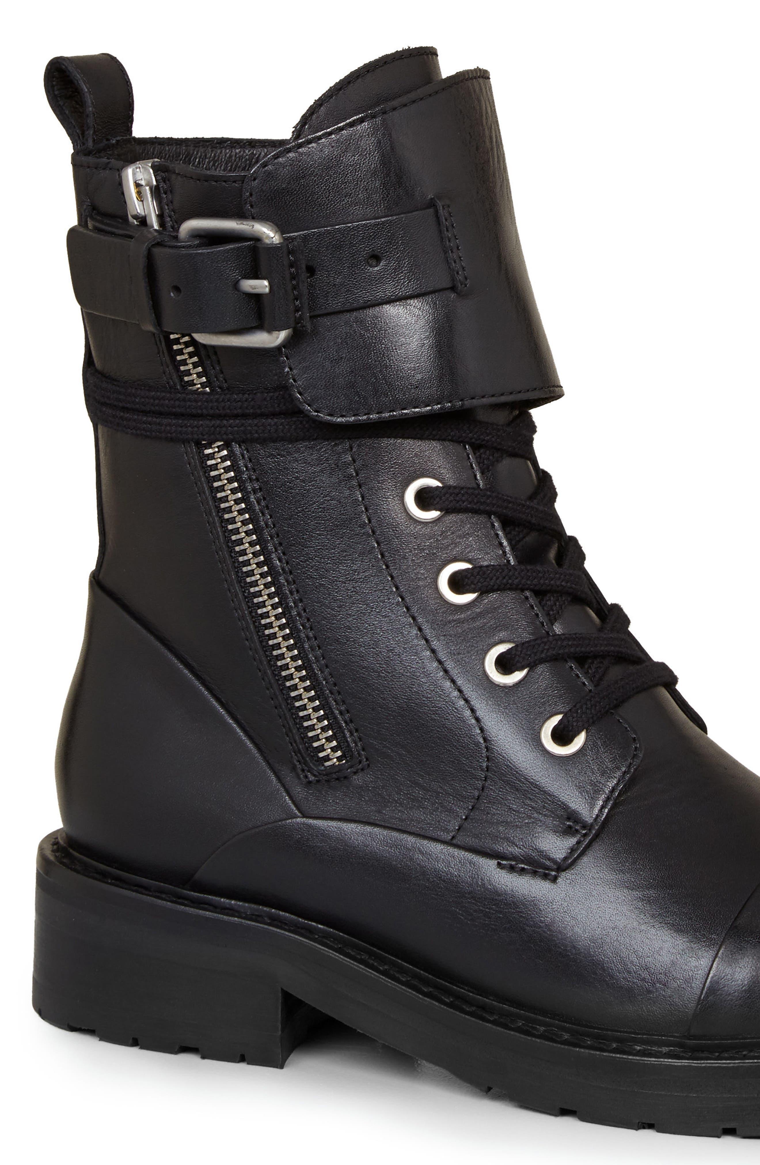 Daria Cuffed Combat Boot,                             Alternate thumbnail 5, color,                             001