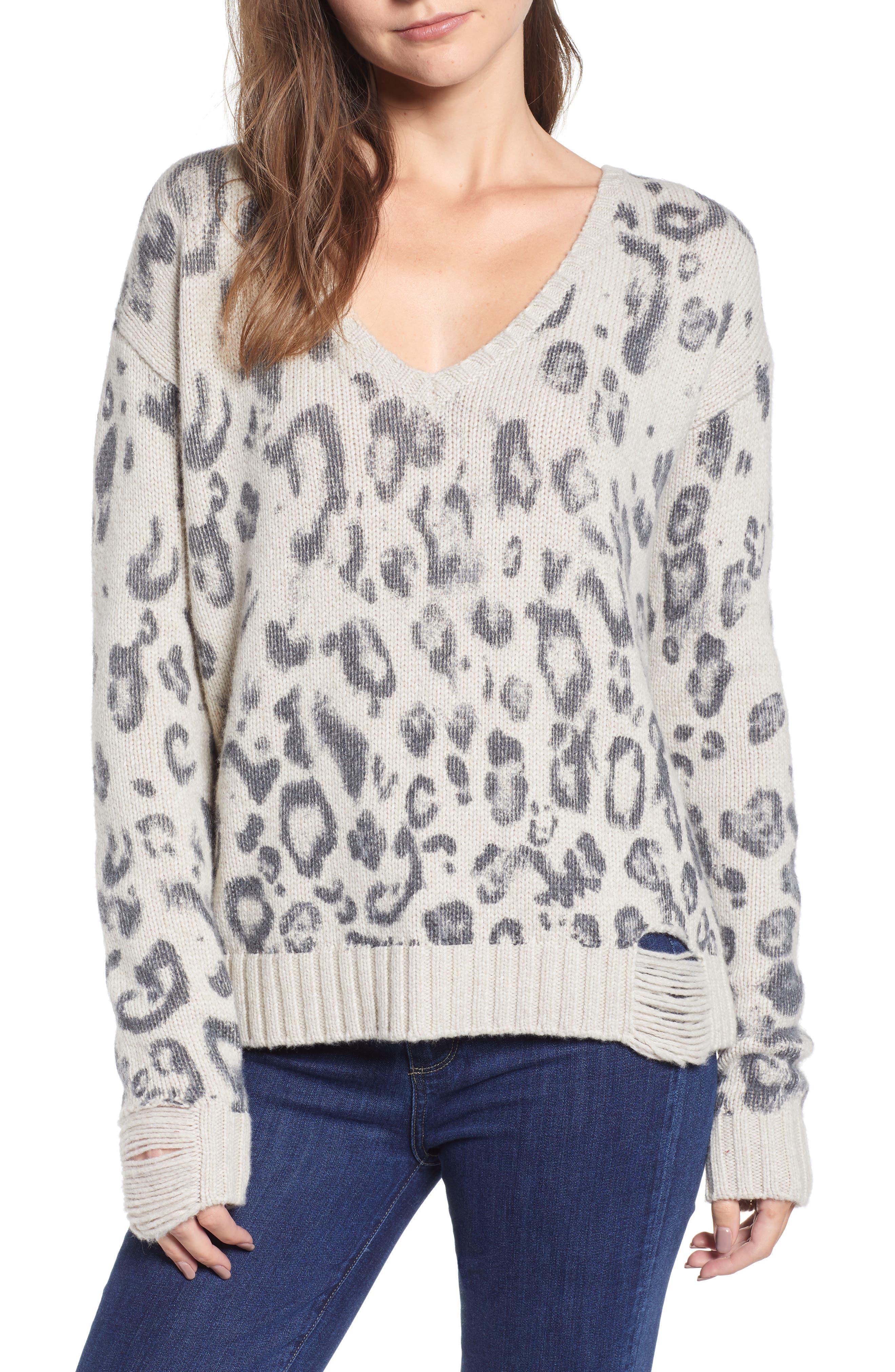 Leopard V-Neck Sweater,                             Main thumbnail 1, color,