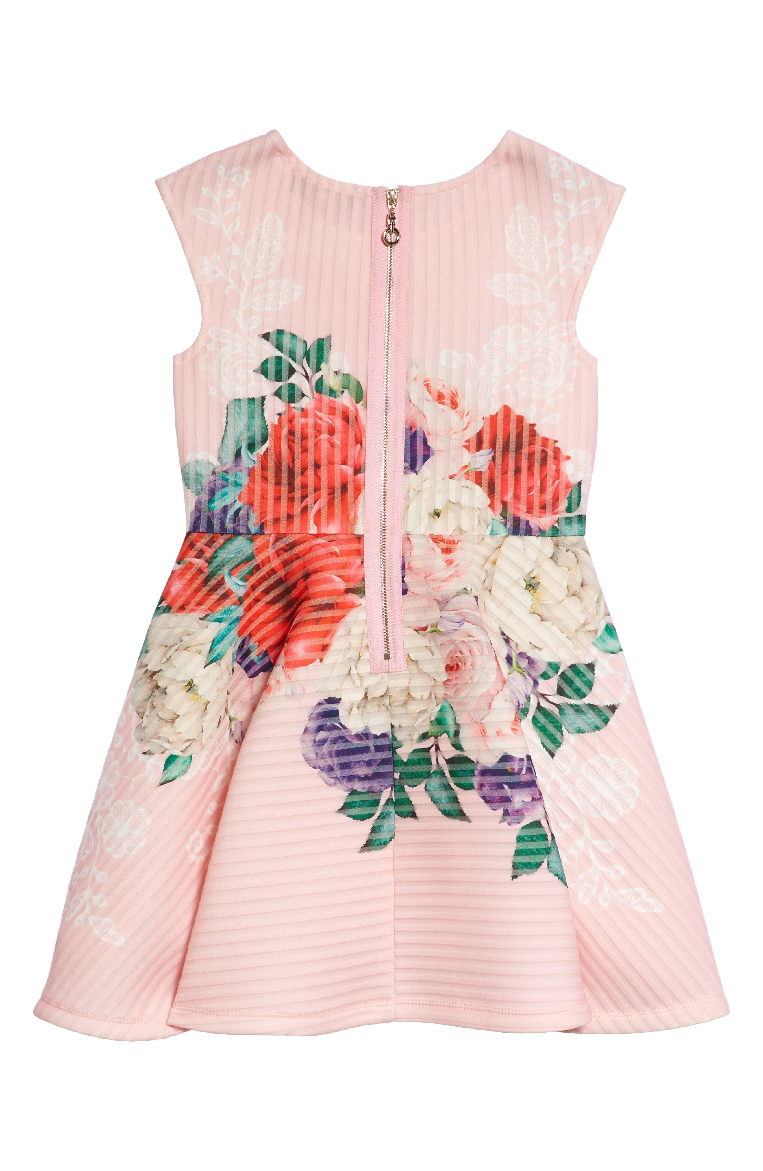 Floral Print Skater Dress,                             Alternate thumbnail 2, color,                             PINK MULTI