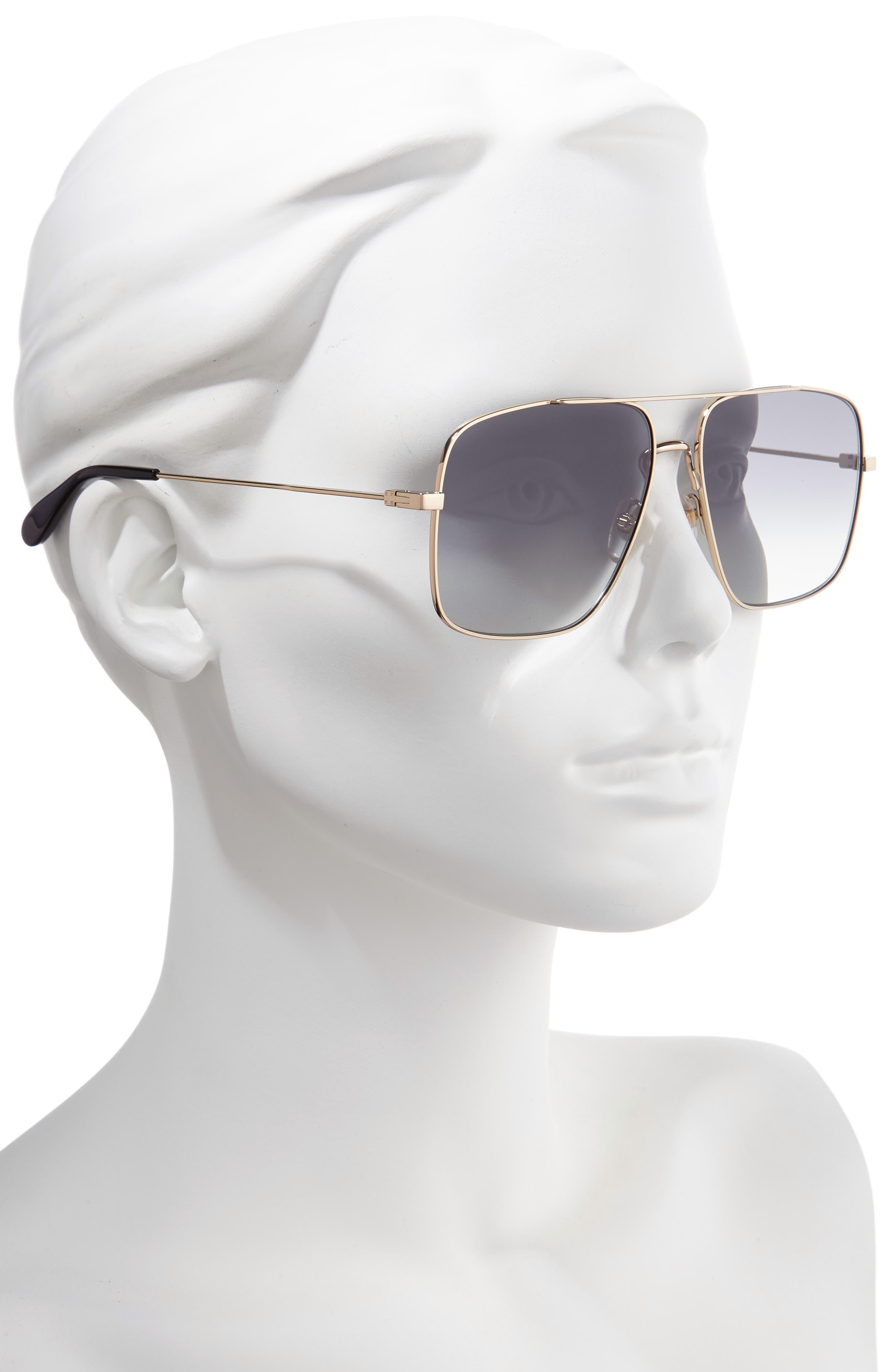 61mm Navigator Sunglasses,                             Alternate thumbnail 2, color,                             GOLD/ GREY