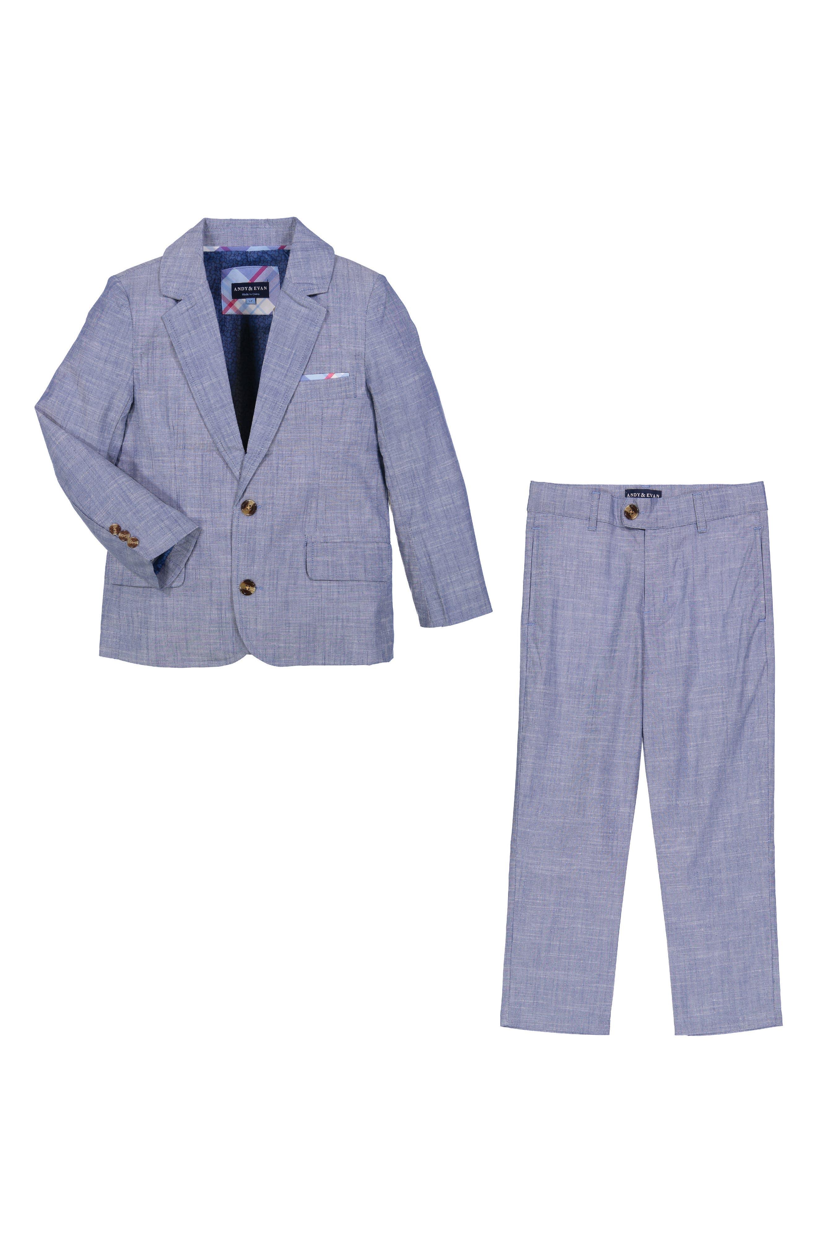 Chambray Suit Set,                             Main thumbnail 1, color,                             BLUE