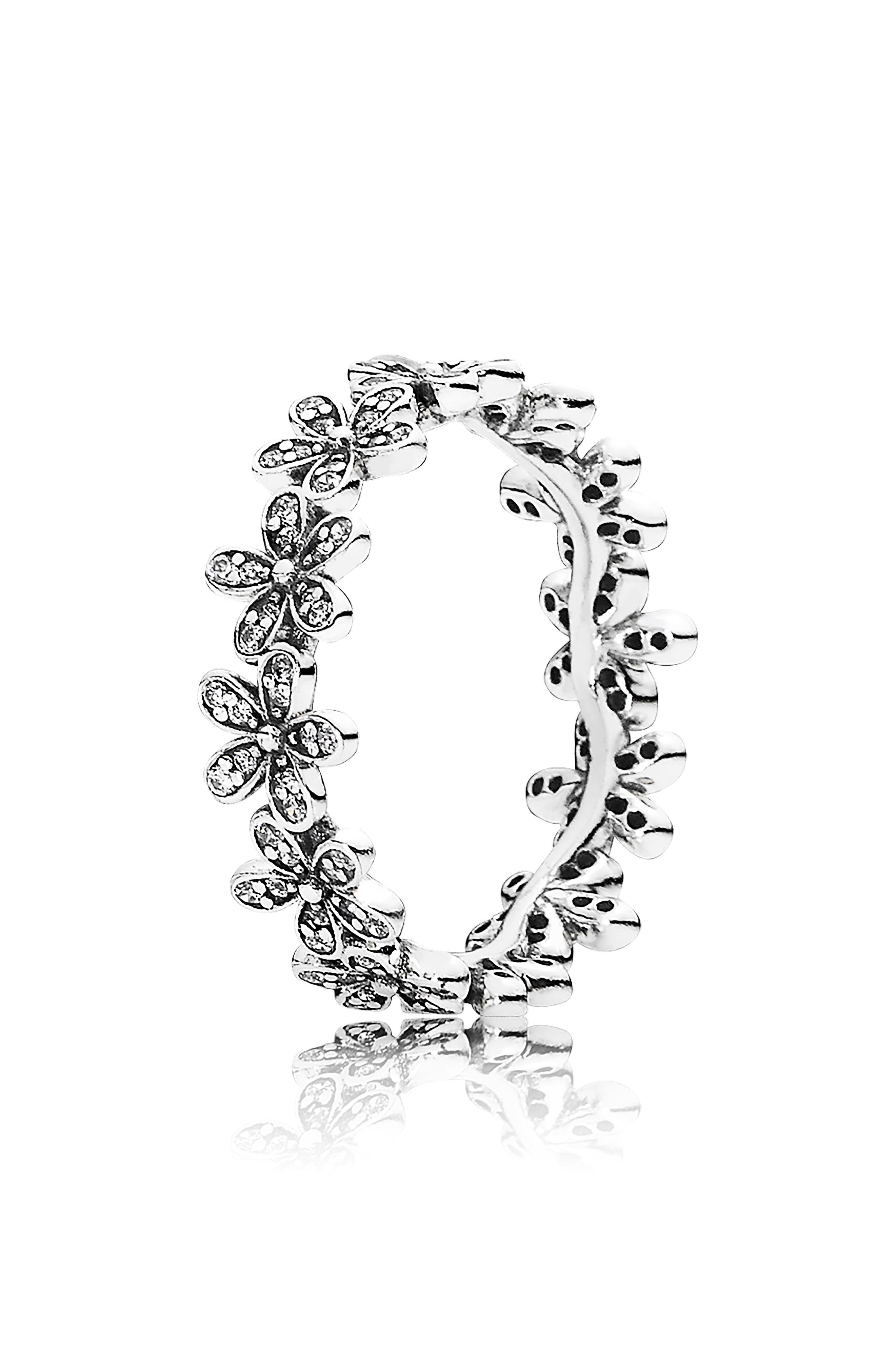 Dazzling Daisy Meadow Stacking Ring, Main, color, SILVER