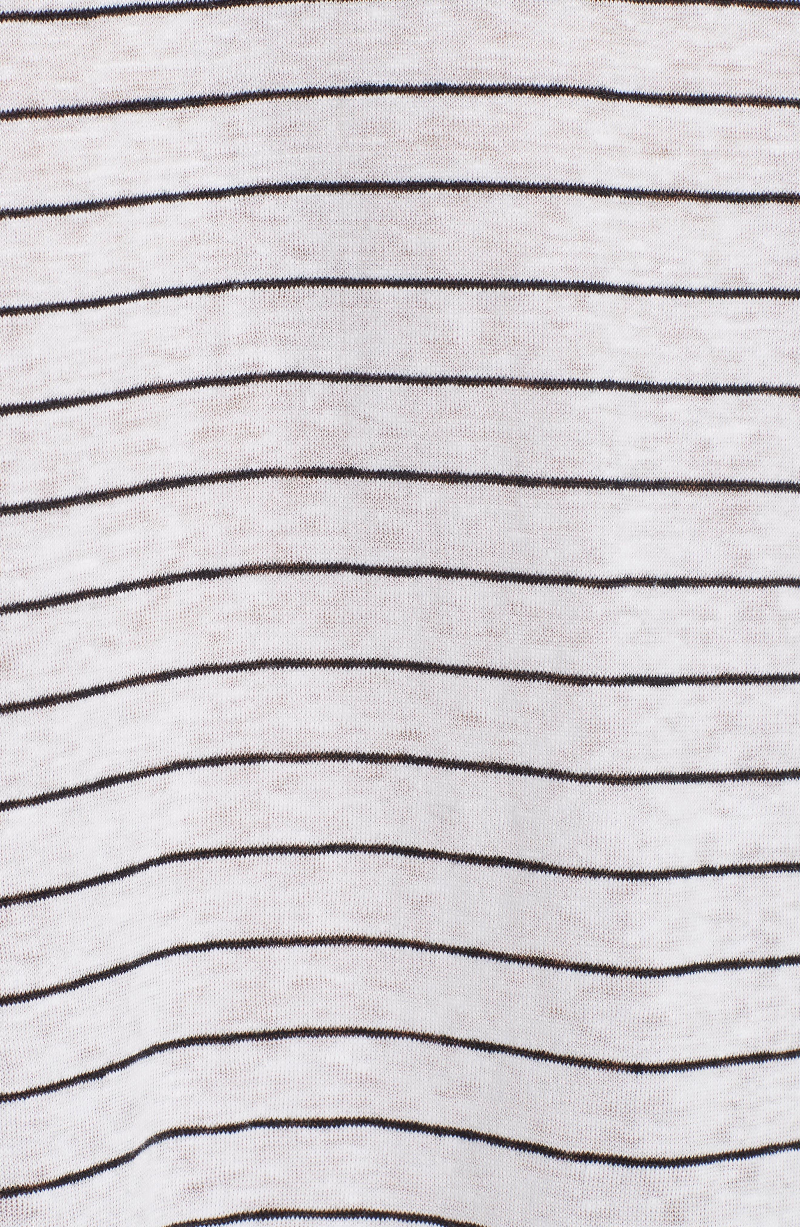 Stripe Organic Linen Top,                             Alternate thumbnail 5, color,                             120