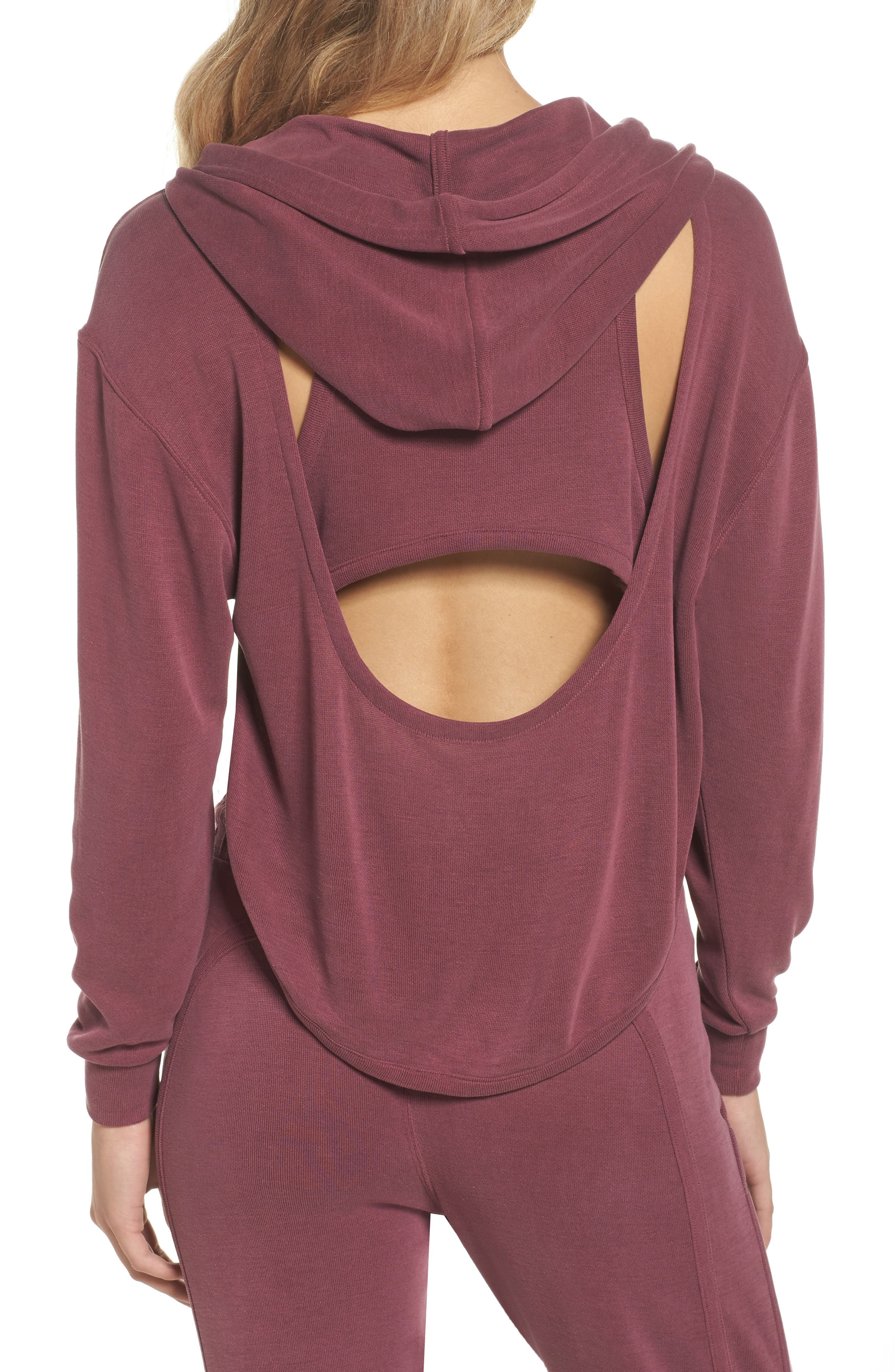 Back Into It Cutout Hoodie,                             Alternate thumbnail 2, color,                             WINE