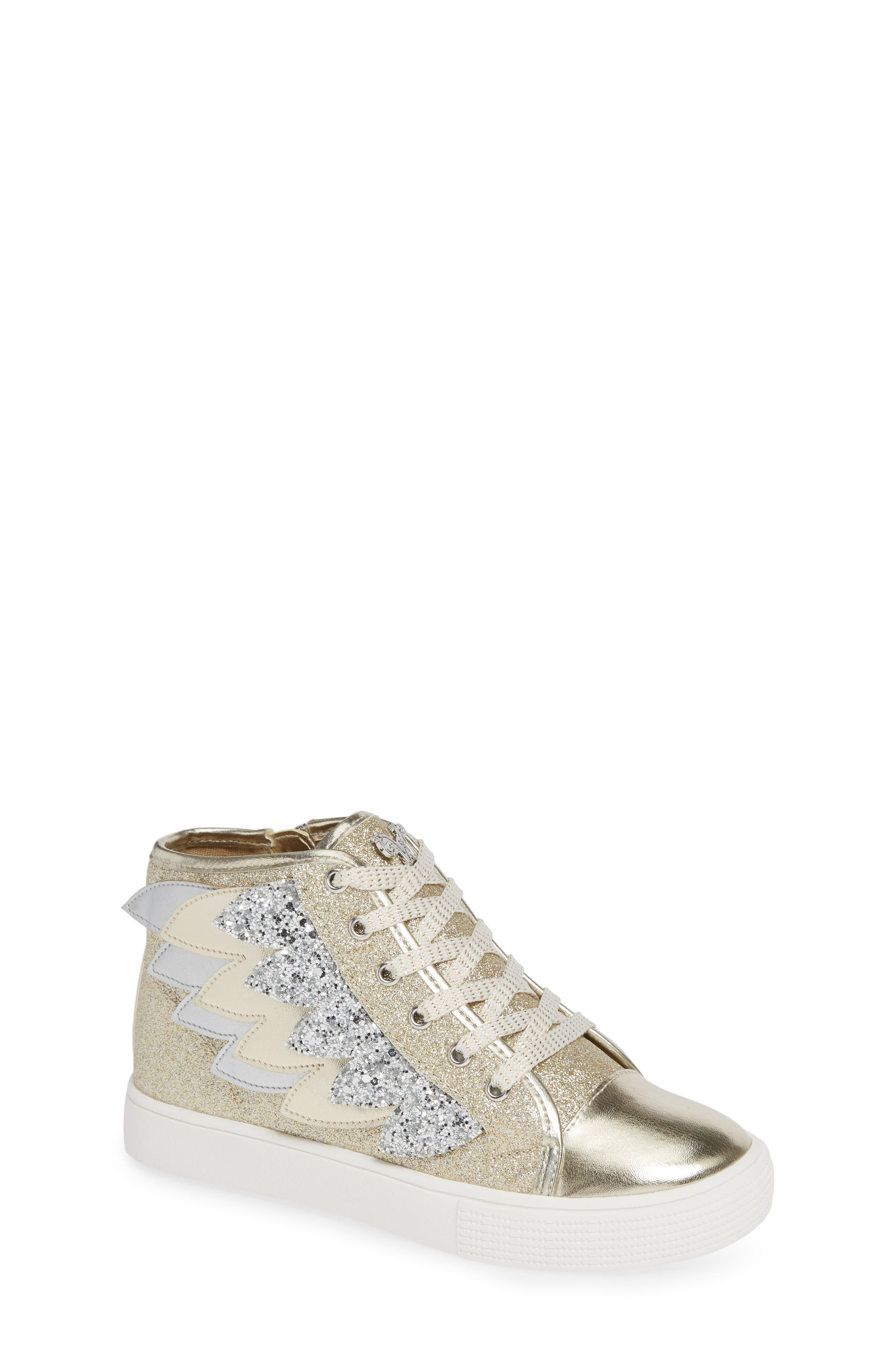 Willa Winged Glitter High Top Sneaker,                             Main thumbnail 1, color,                             SOFT GOLD SILVER