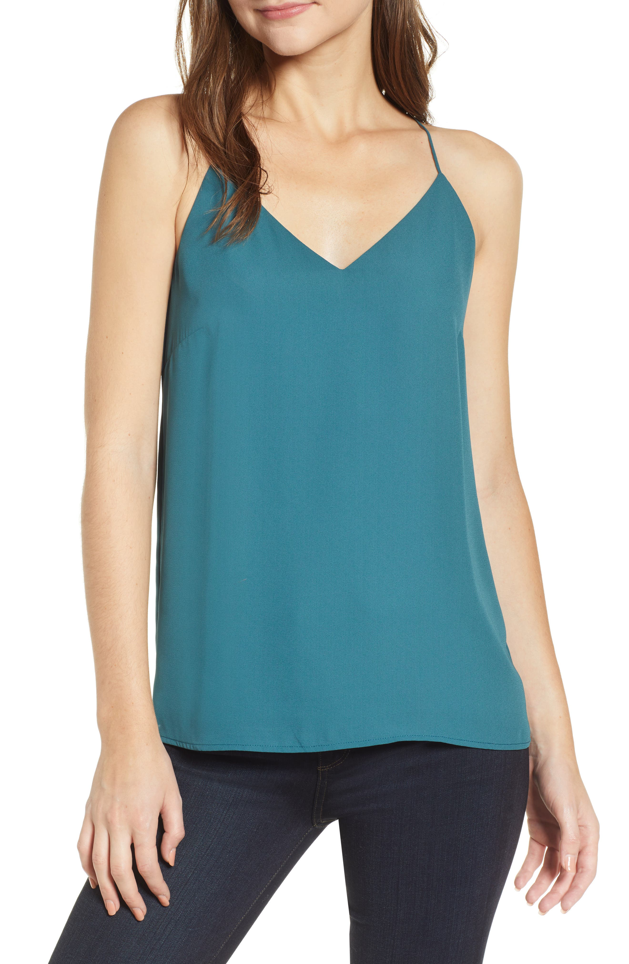 Strappy Tank,                         Main,                         color, TEAL BALSAM