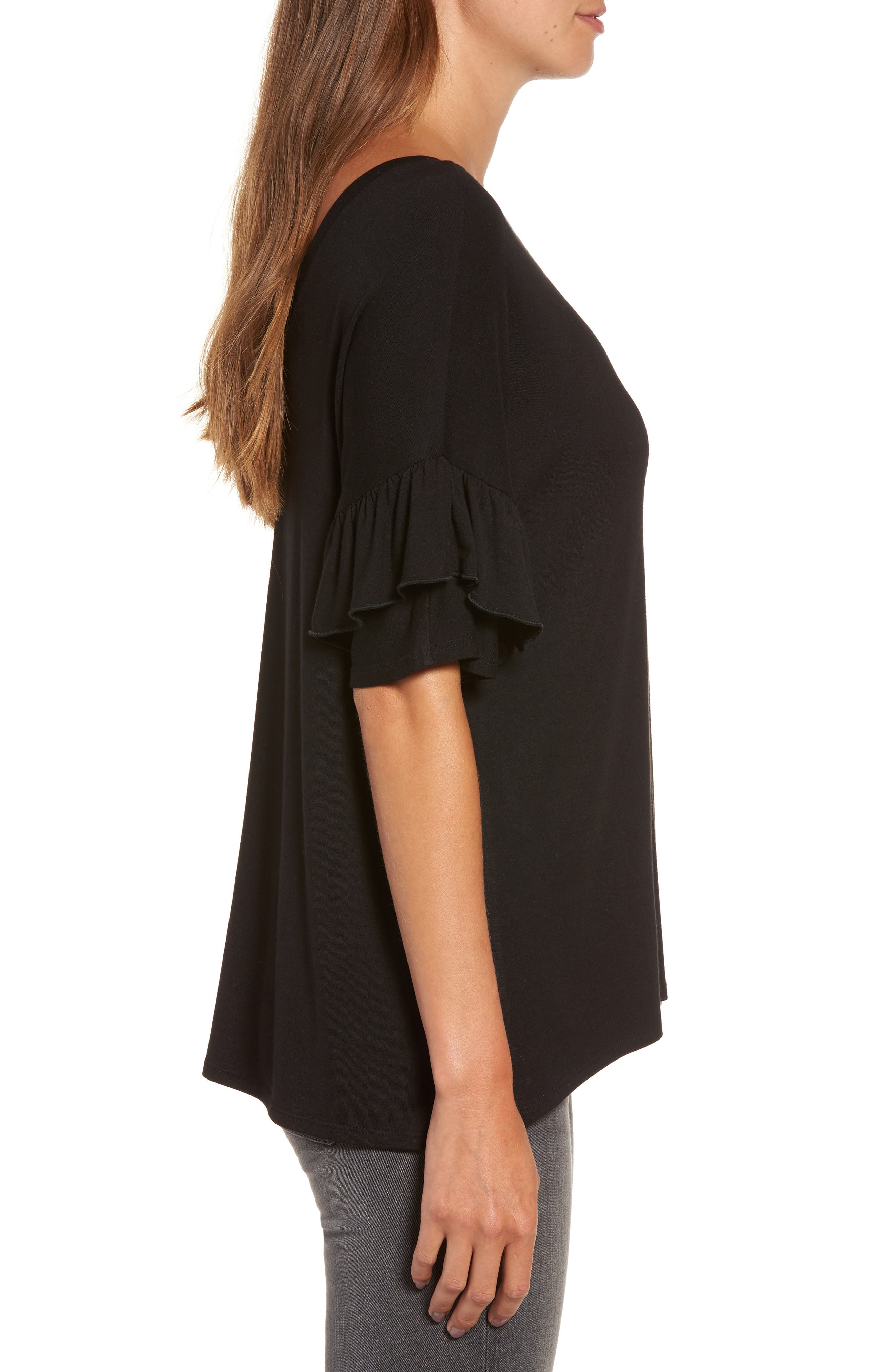 Ruffle Sleeve Tee,                             Alternate thumbnail 3, color,                             001
