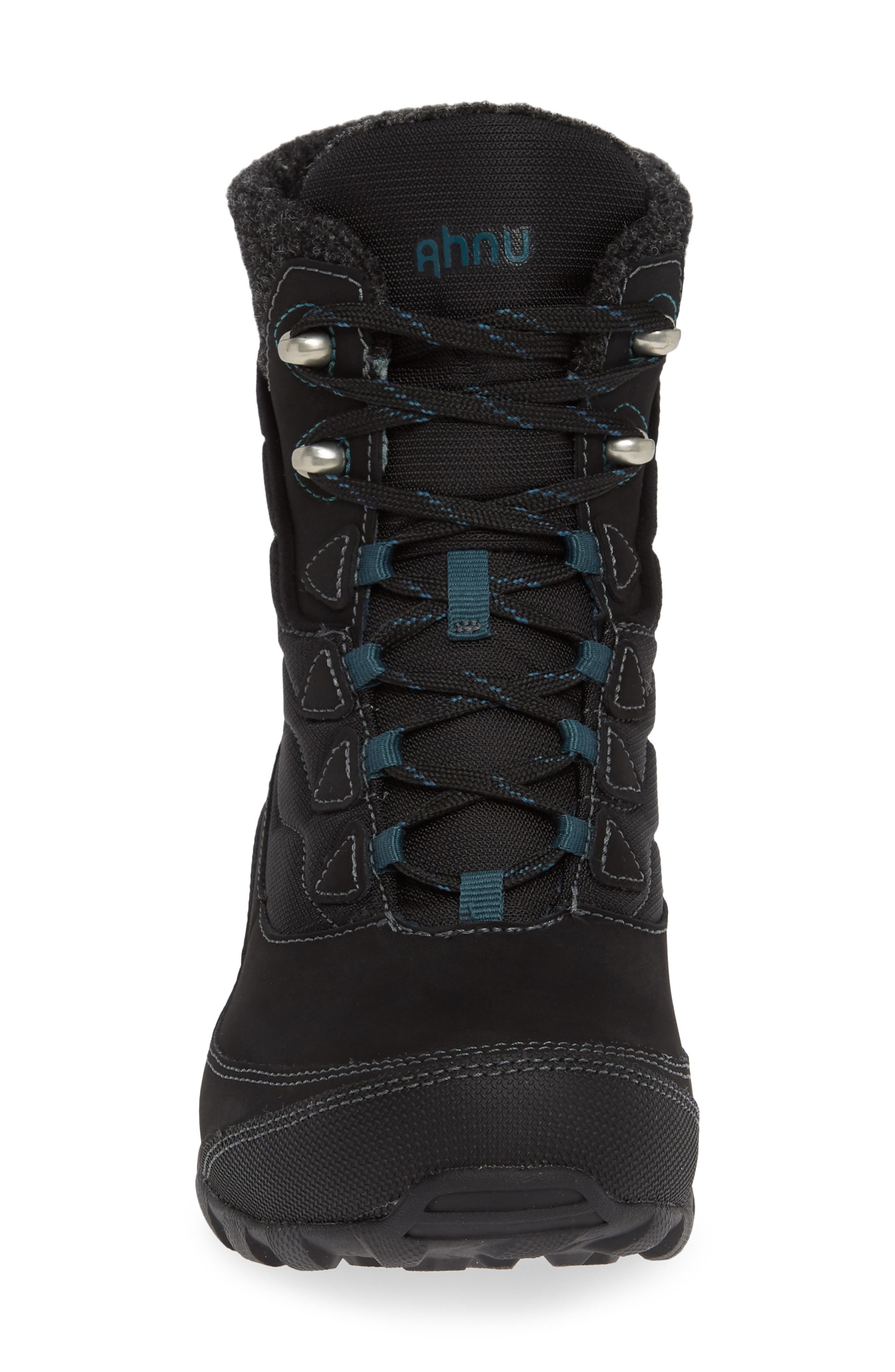 Ahnu by Teva Sugarfrost Insulated Waterproof Boot,                             Alternate thumbnail 4, color,                             BLACK LEATHER