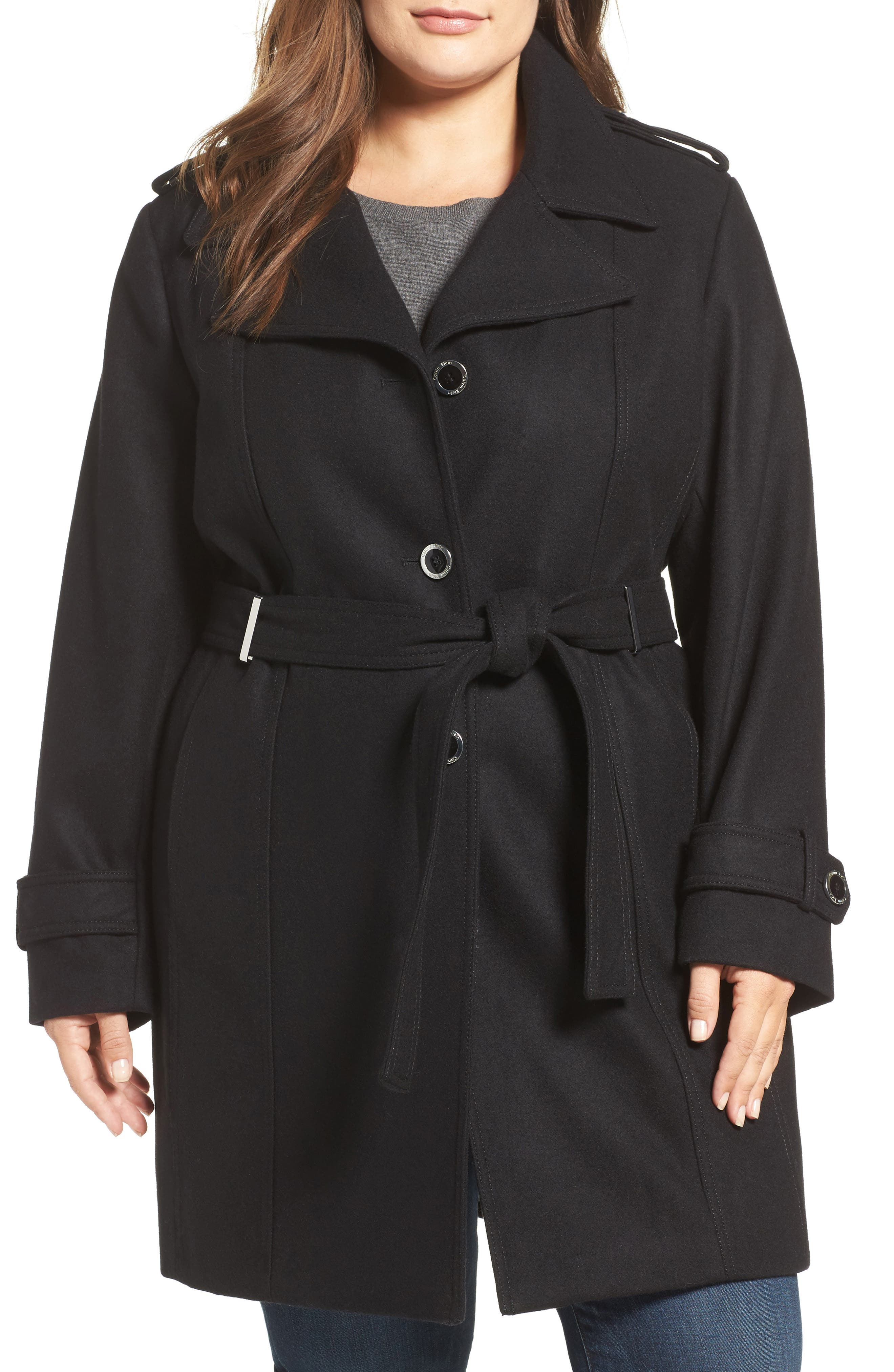 Single Breasted Wool Blend Trench Coat,                             Alternate thumbnail 4, color,