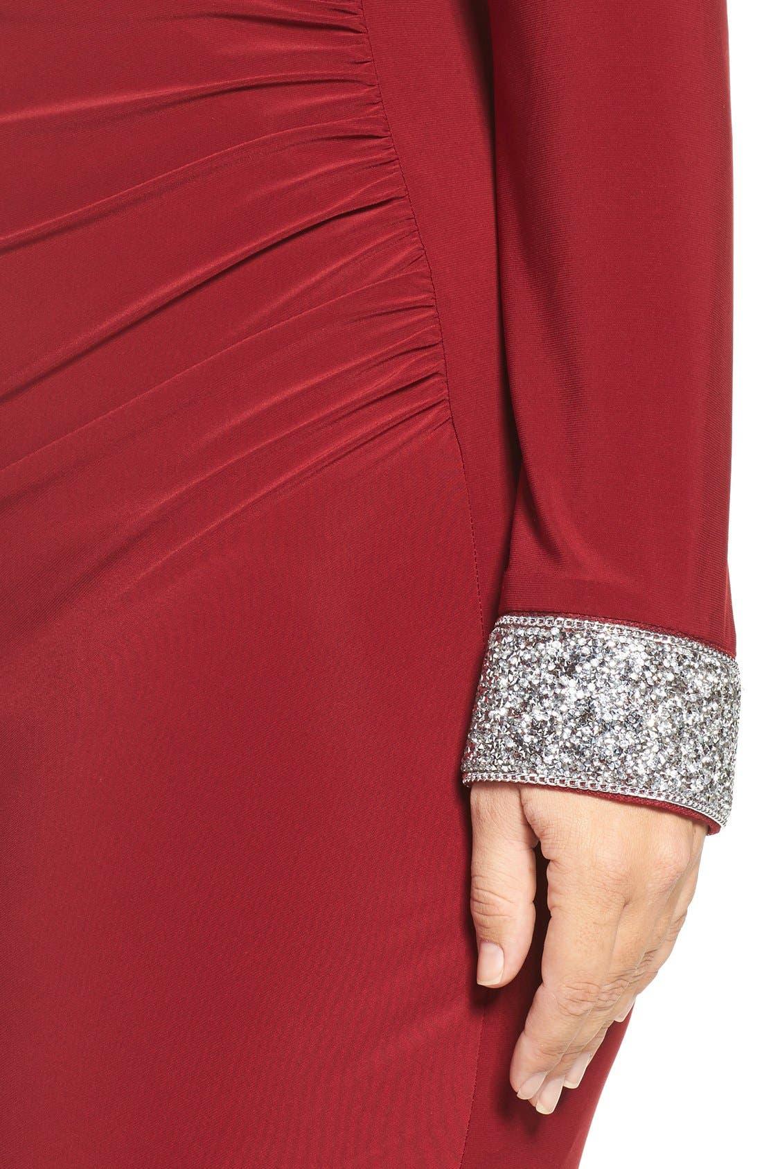 Embellished Drape Back Jersey Cocktail Dress,                             Alternate thumbnail 5, color,                             606