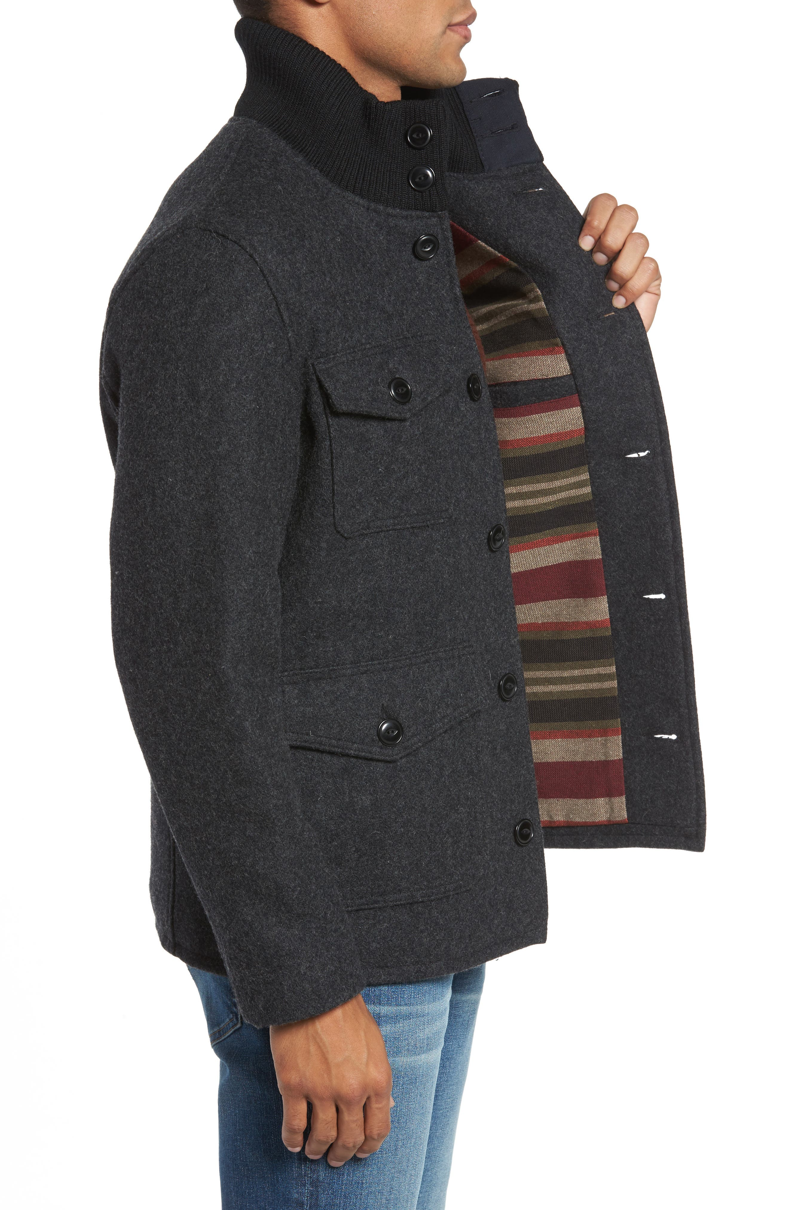 Wool Blend Field Jacket,                             Alternate thumbnail 3, color,                             DARK OXFORD