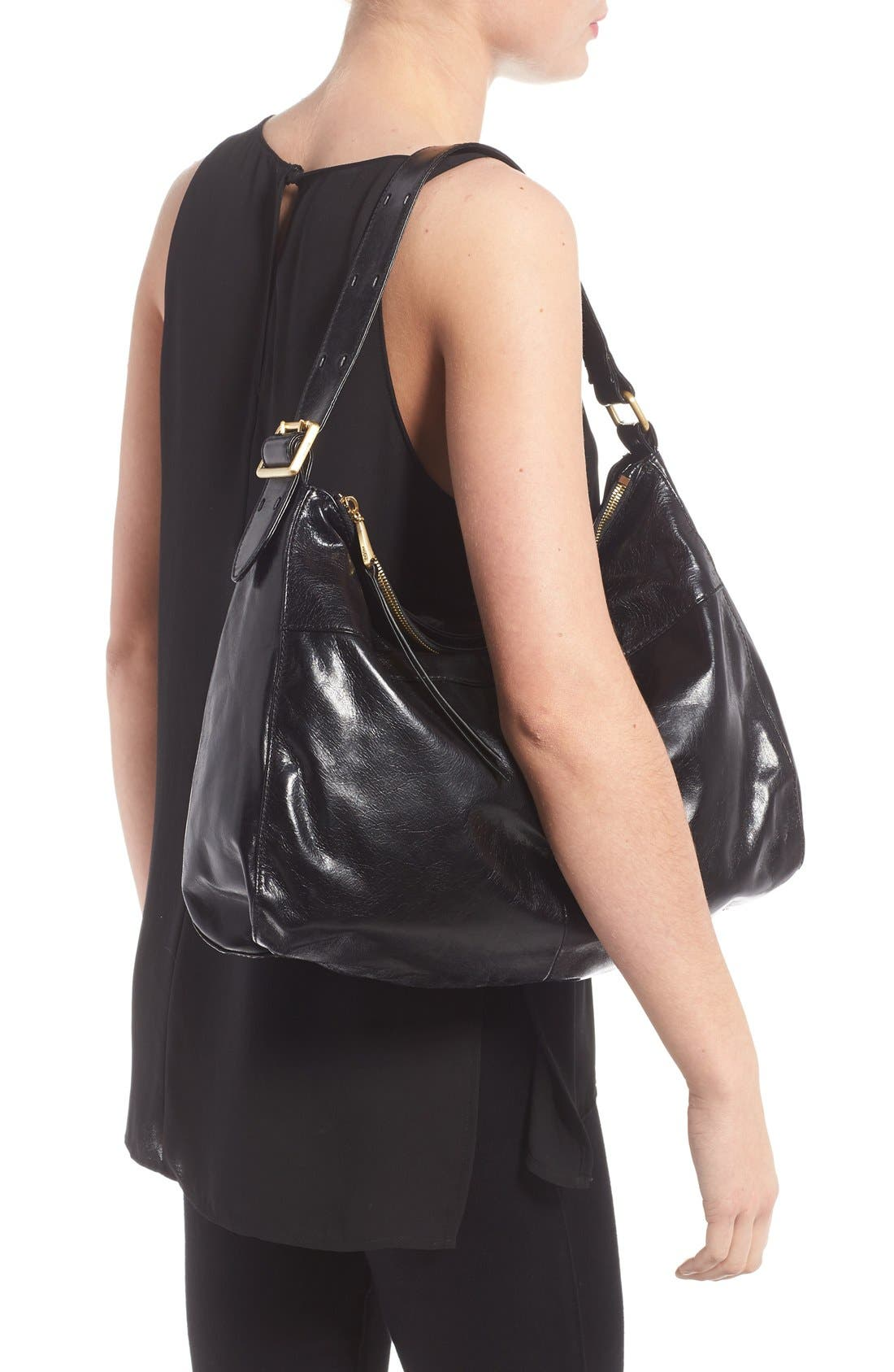 'Quincy' Leather Hobo,                             Alternate thumbnail 3, color,                             001