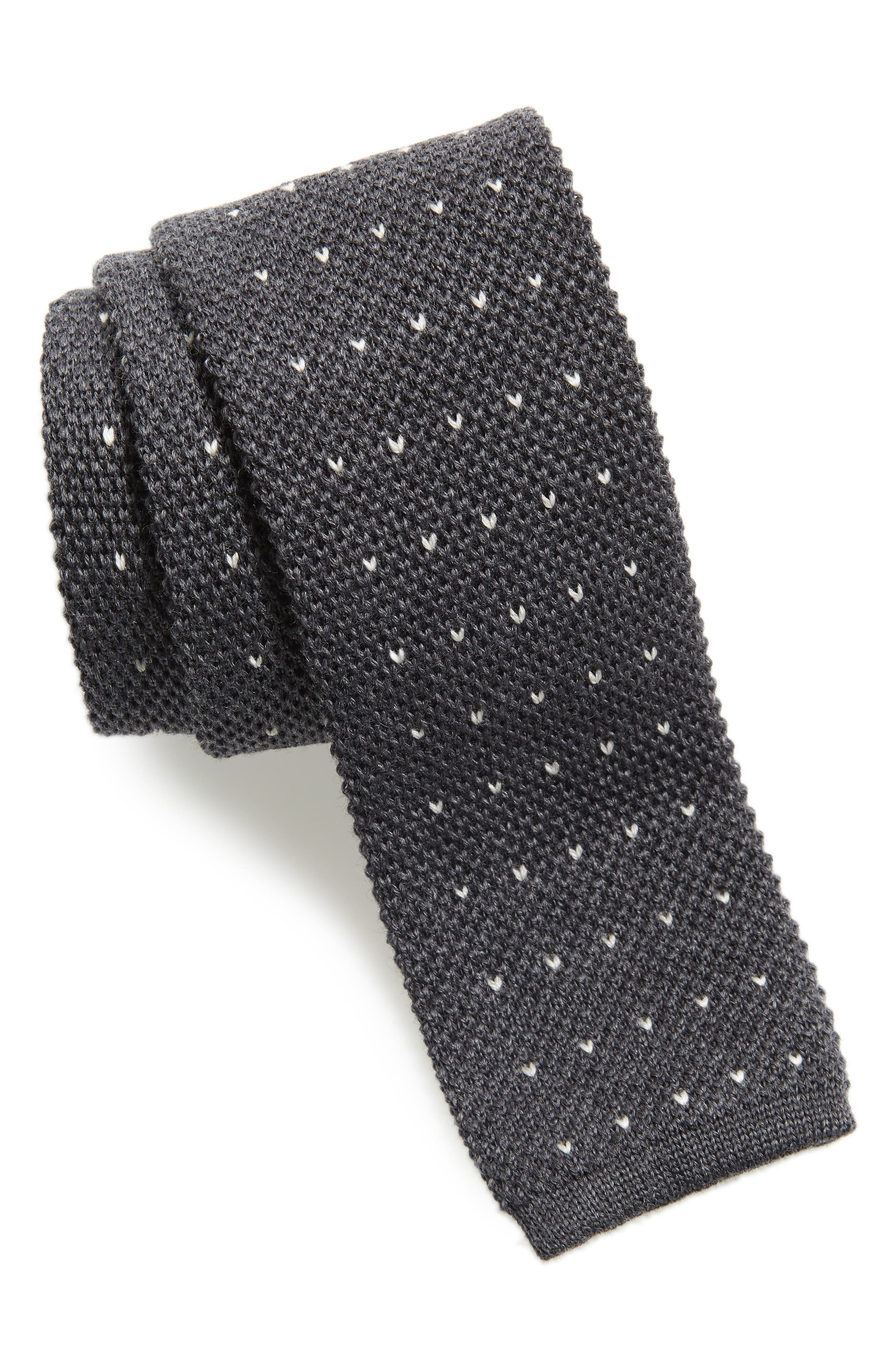 Stitch Wool Knit Tie,                             Main thumbnail 1, color,                             GREY/ WHITE
