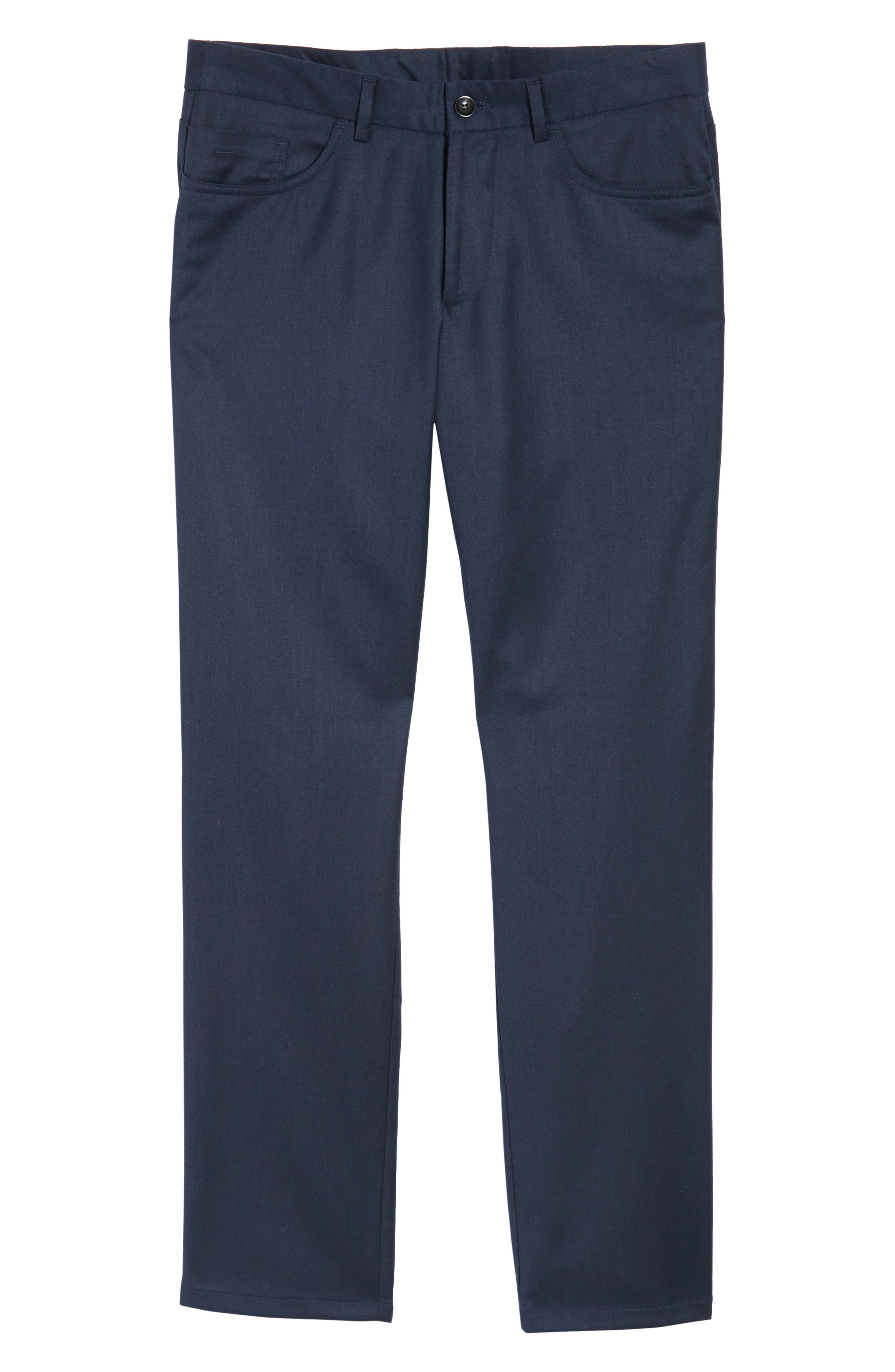 Flat Front Solid Stretch Wool Trousers,                             Alternate thumbnail 18, color,