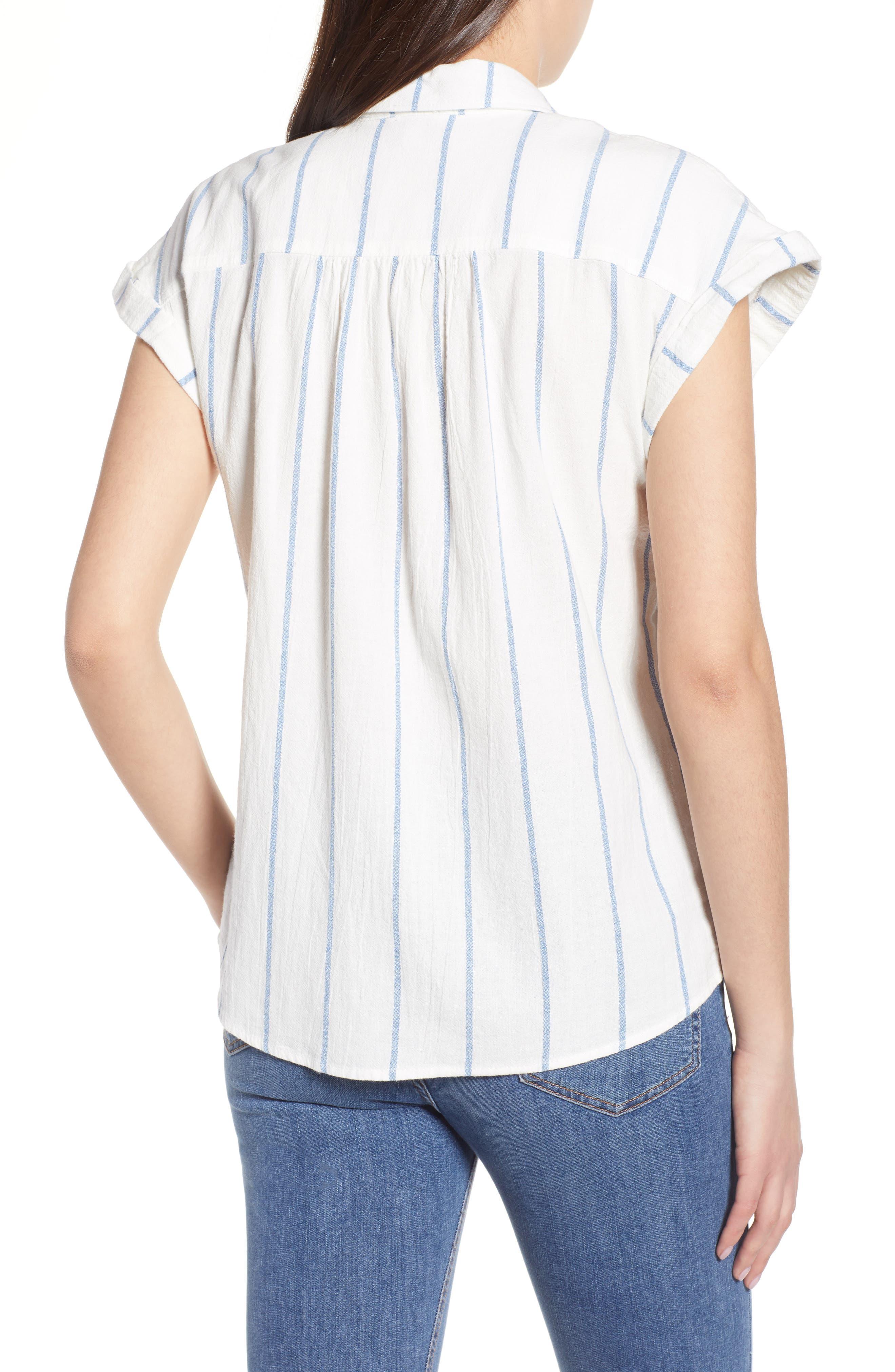 Stripe Cap Sleeve Top,                             Alternate thumbnail 2, color,                             900