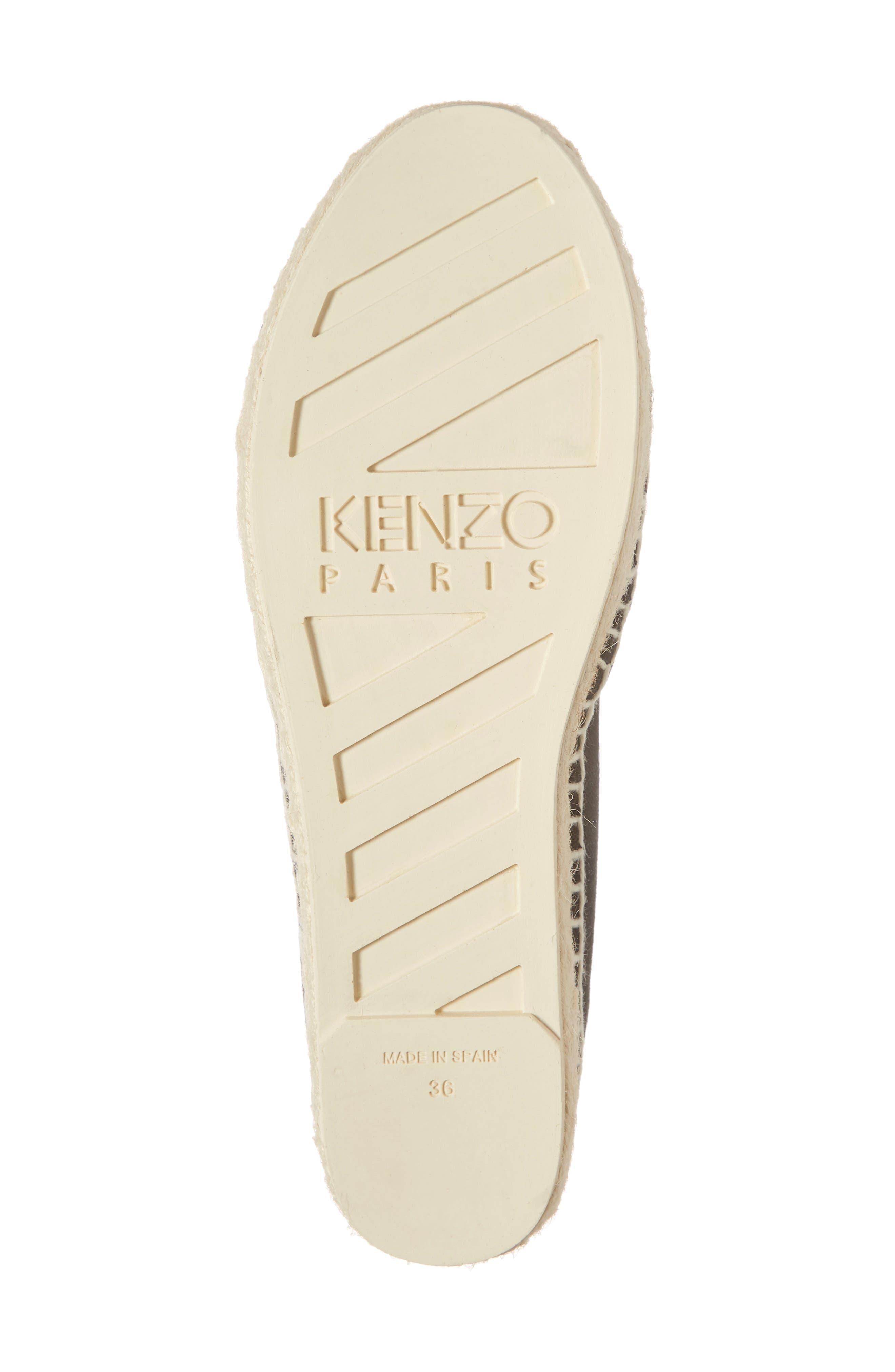 KENZO,                             White Tiger Embroidered Espadrille,                             Alternate thumbnail 6, color,                             BLACK