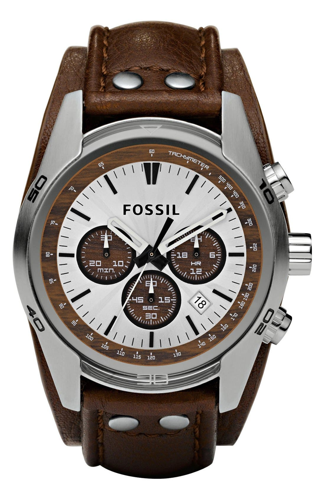 FOSSIL,                             Chronograph Cuff Watch, 44mm,                             Main thumbnail 1, color,                             BROWN