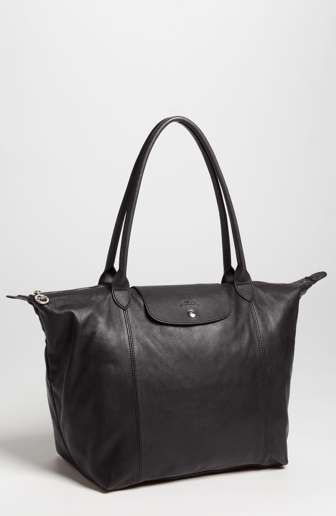 Le Pliage Cuir Leather Tote,                         Main,                         color, BLACK
