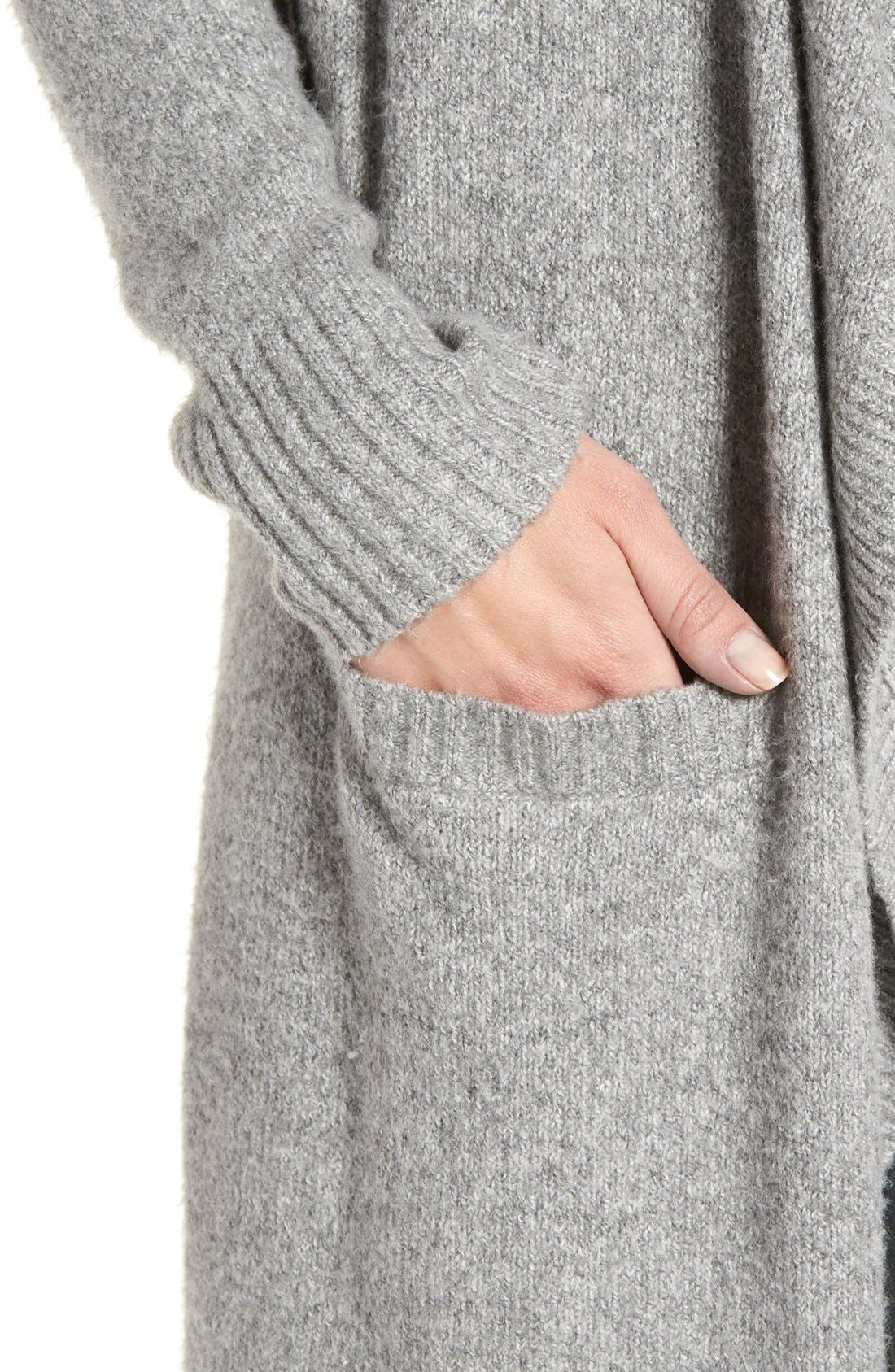 Drape Cardigan,                             Alternate thumbnail 8, color,                             GREY HEATHER