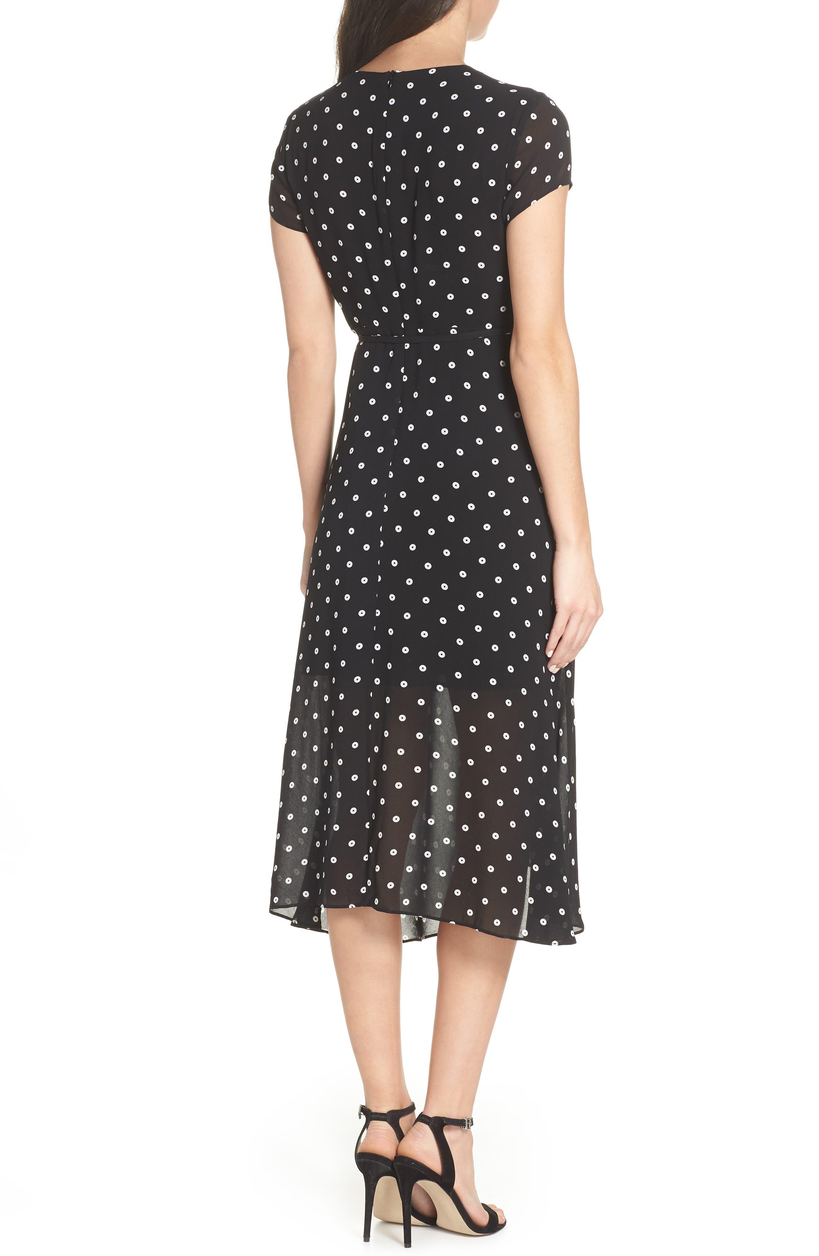 Dotted Faux Wrap Midi Dress,                             Alternate thumbnail 2, color,                             006