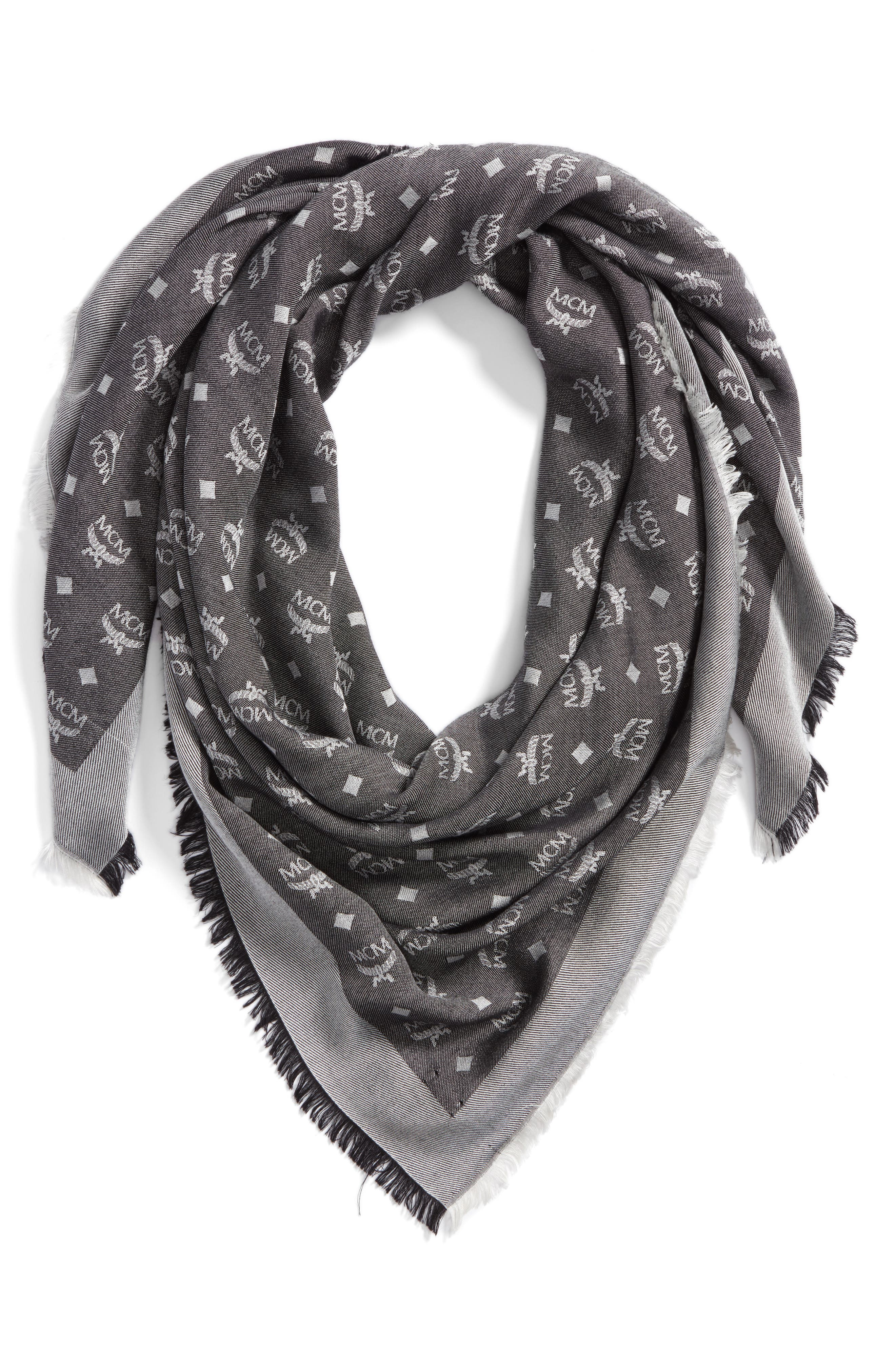 Monogram Scarf,                         Main,                         color, SILVER SHADOW
