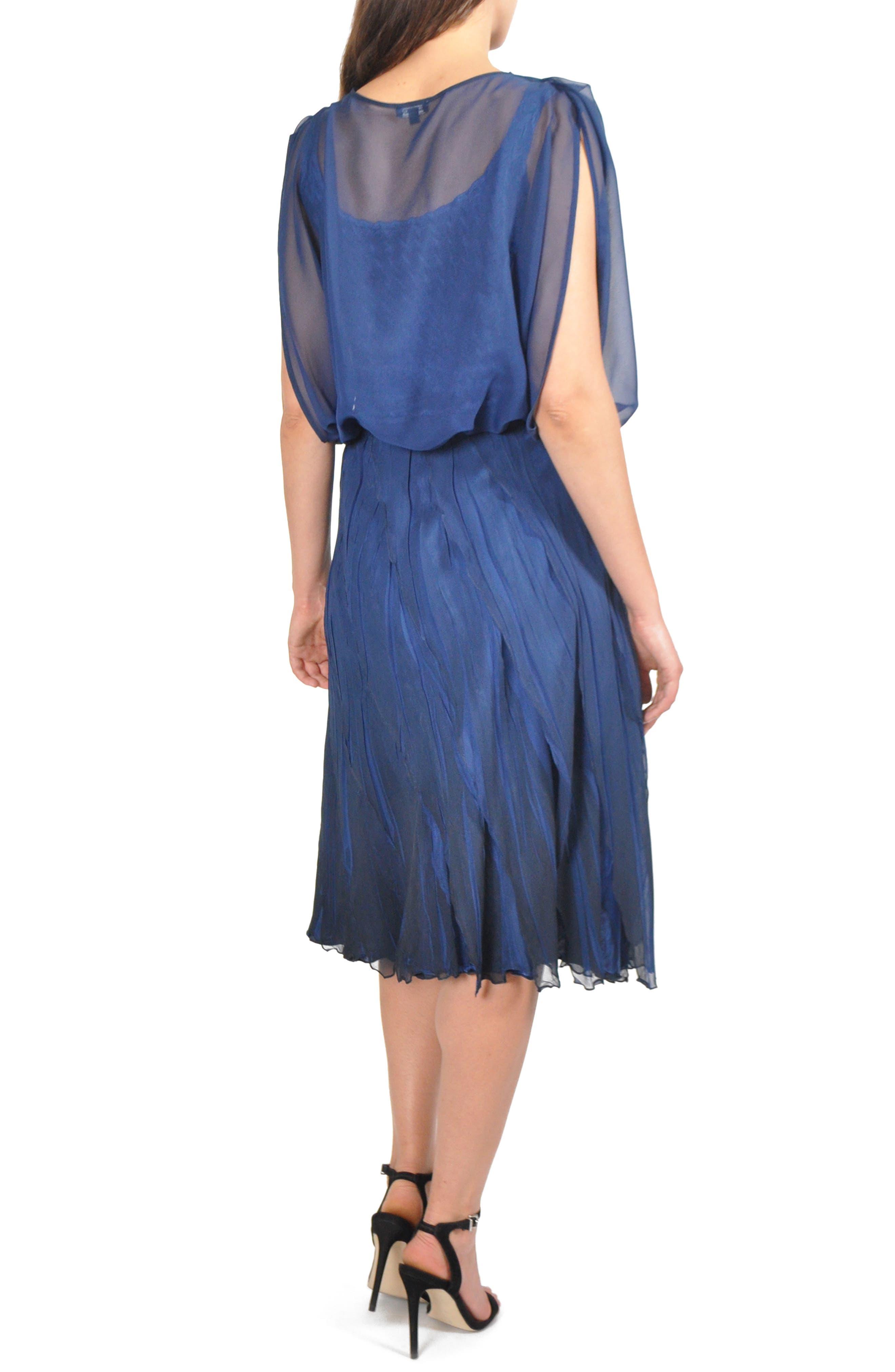 Blouson Tiered Dress,                             Alternate thumbnail 2, color,                             NAVY BLACK OMBRE