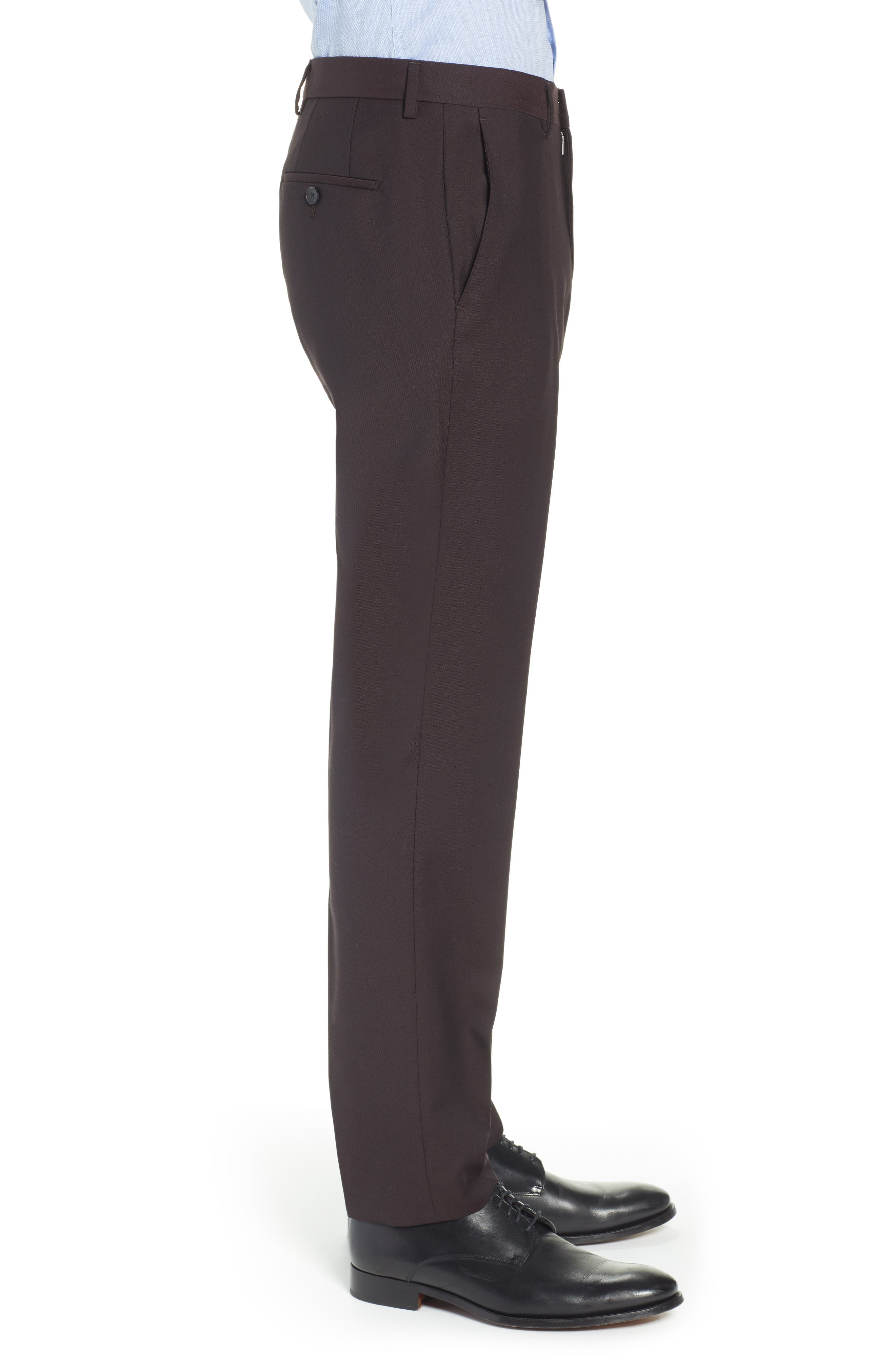 TED BAKER LONDON,                             Buftro Flat Front Slim Twill Trousers,                             Alternate thumbnail 3, color,                             BLUE