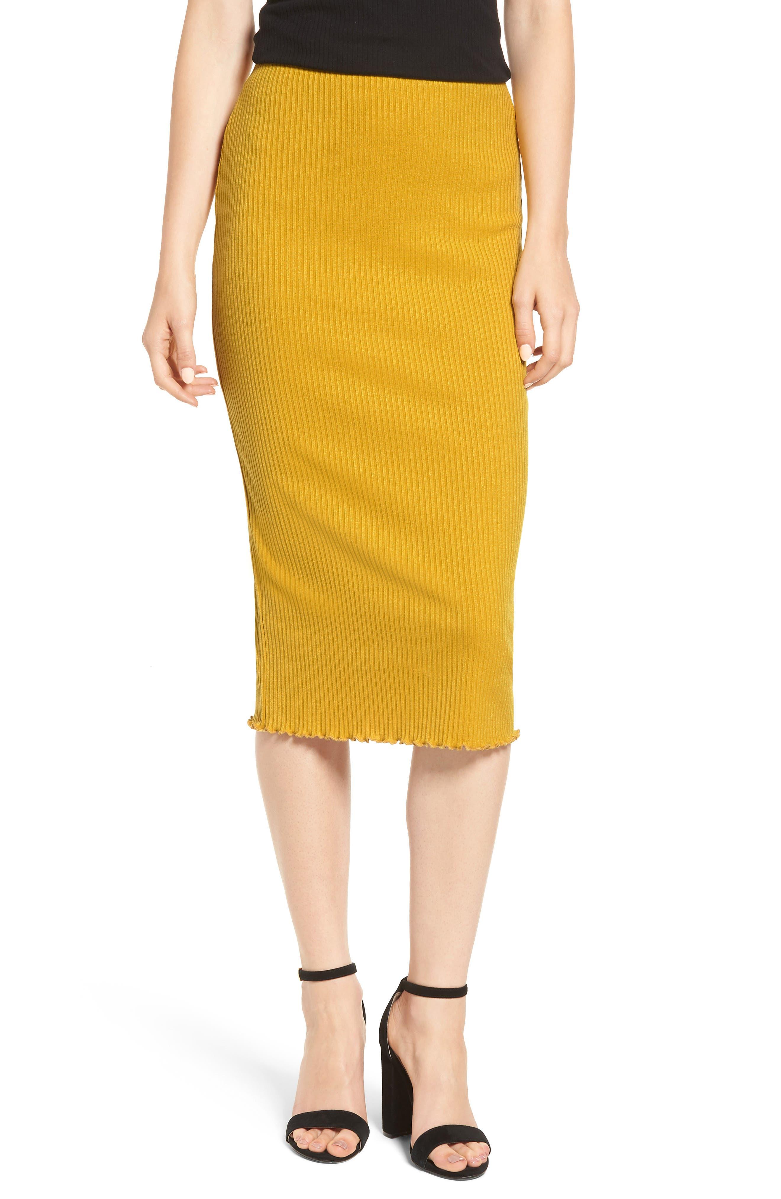 Rib Knit Pencil Skirt,                             Main thumbnail 1, color,