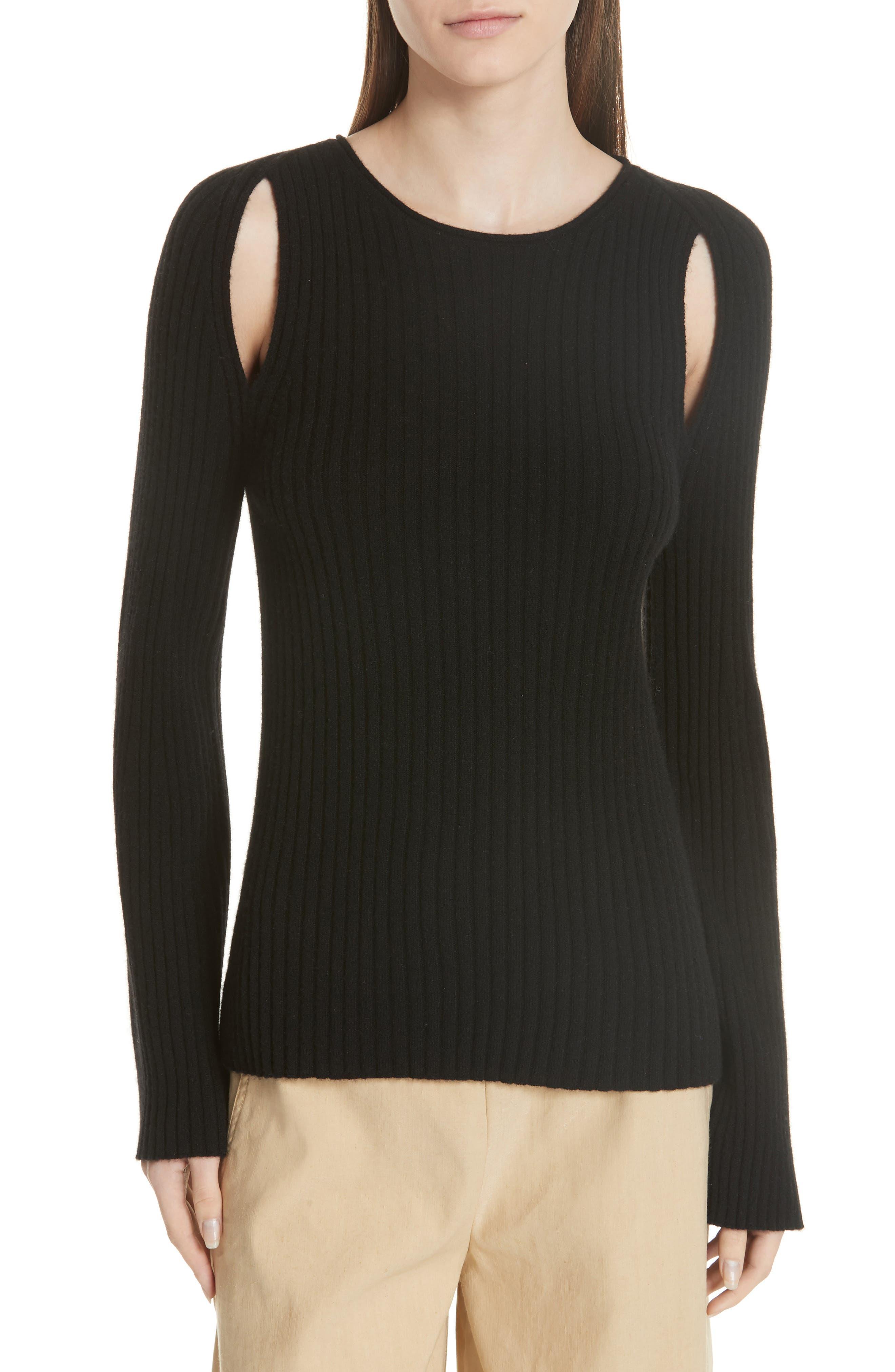 Shoulder Slit Cashmere Crewneck Sweater,                             Main thumbnail 1, color,                             BLACK