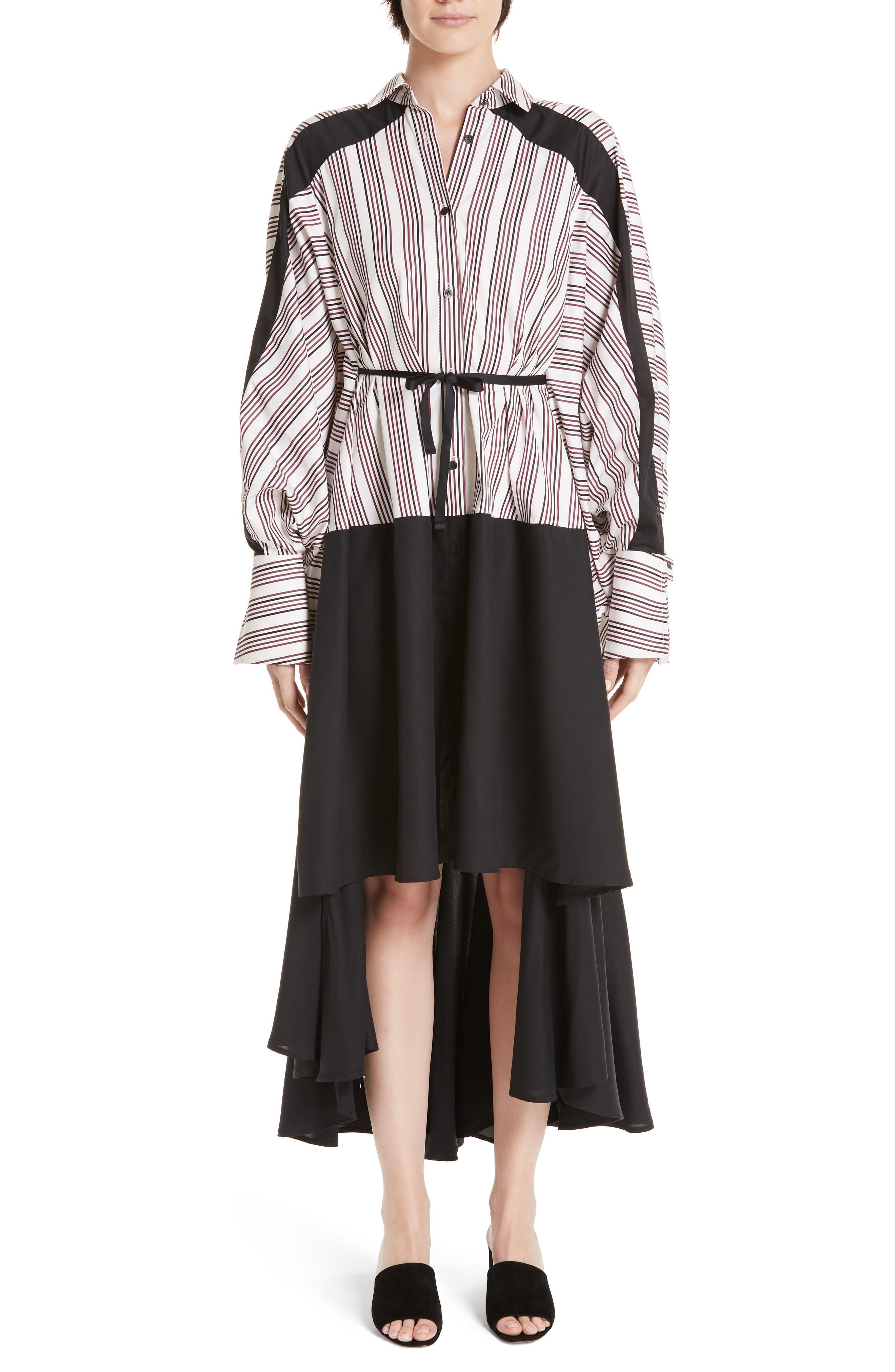 PALMER//HARDING Streep Stripe Shirtdress in Berry Satin Stripe With Black