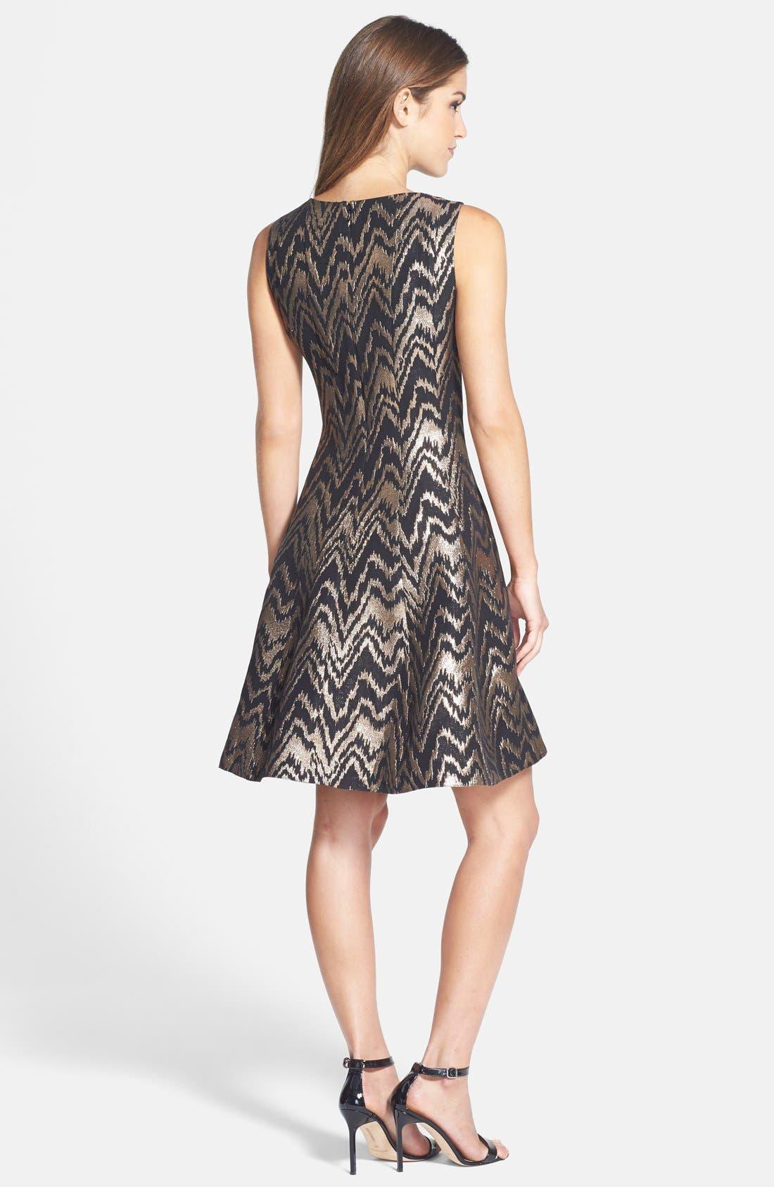 VINCE CAMUTO,                             Metallic Jacquard Fit & Flare Dress,                             Alternate thumbnail 4, color,                             226