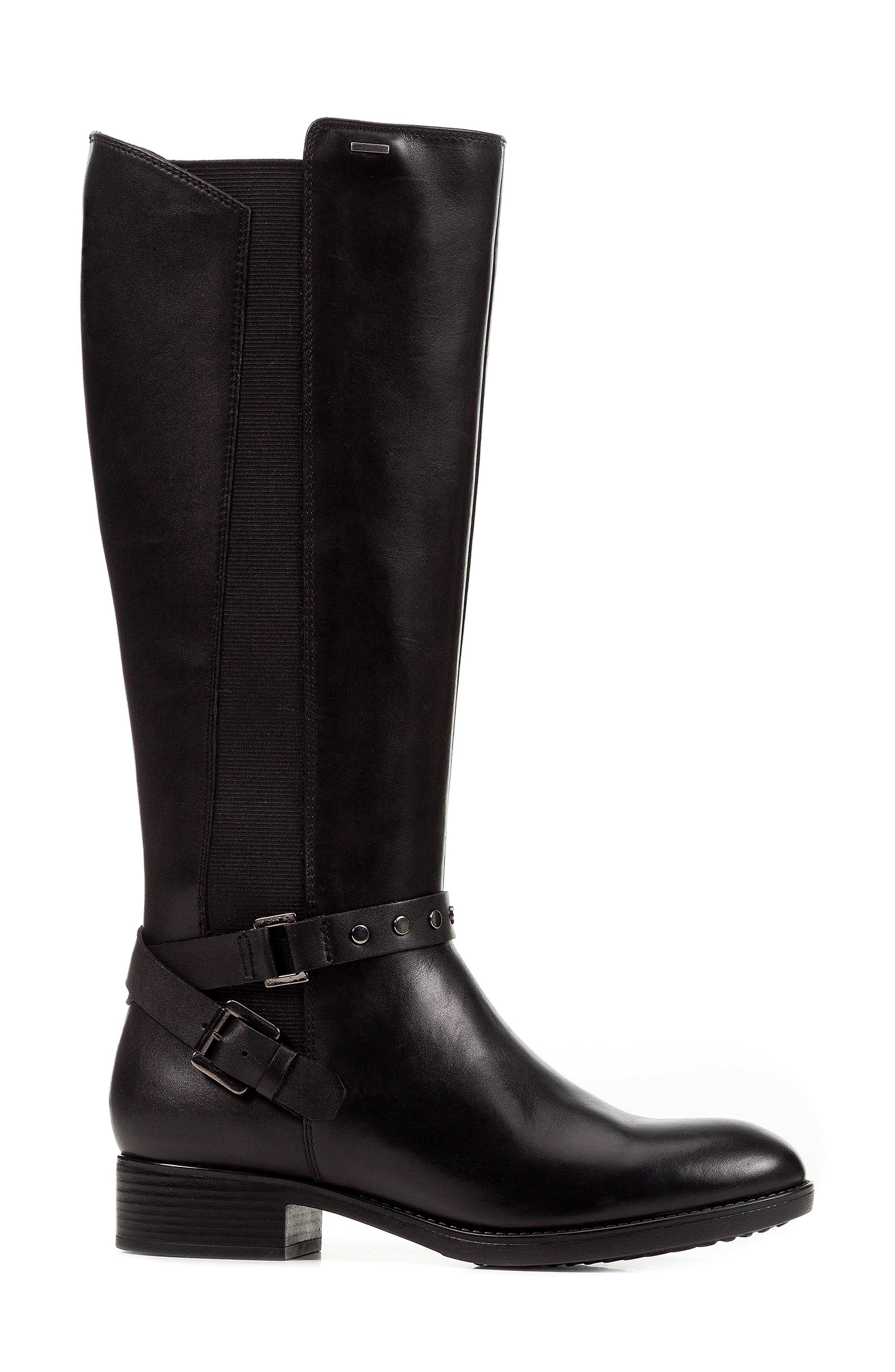 Felicity ABX Waterproof Knee High Riding Boot,                             Alternate thumbnail 3, color,                             BLACK LEATHER