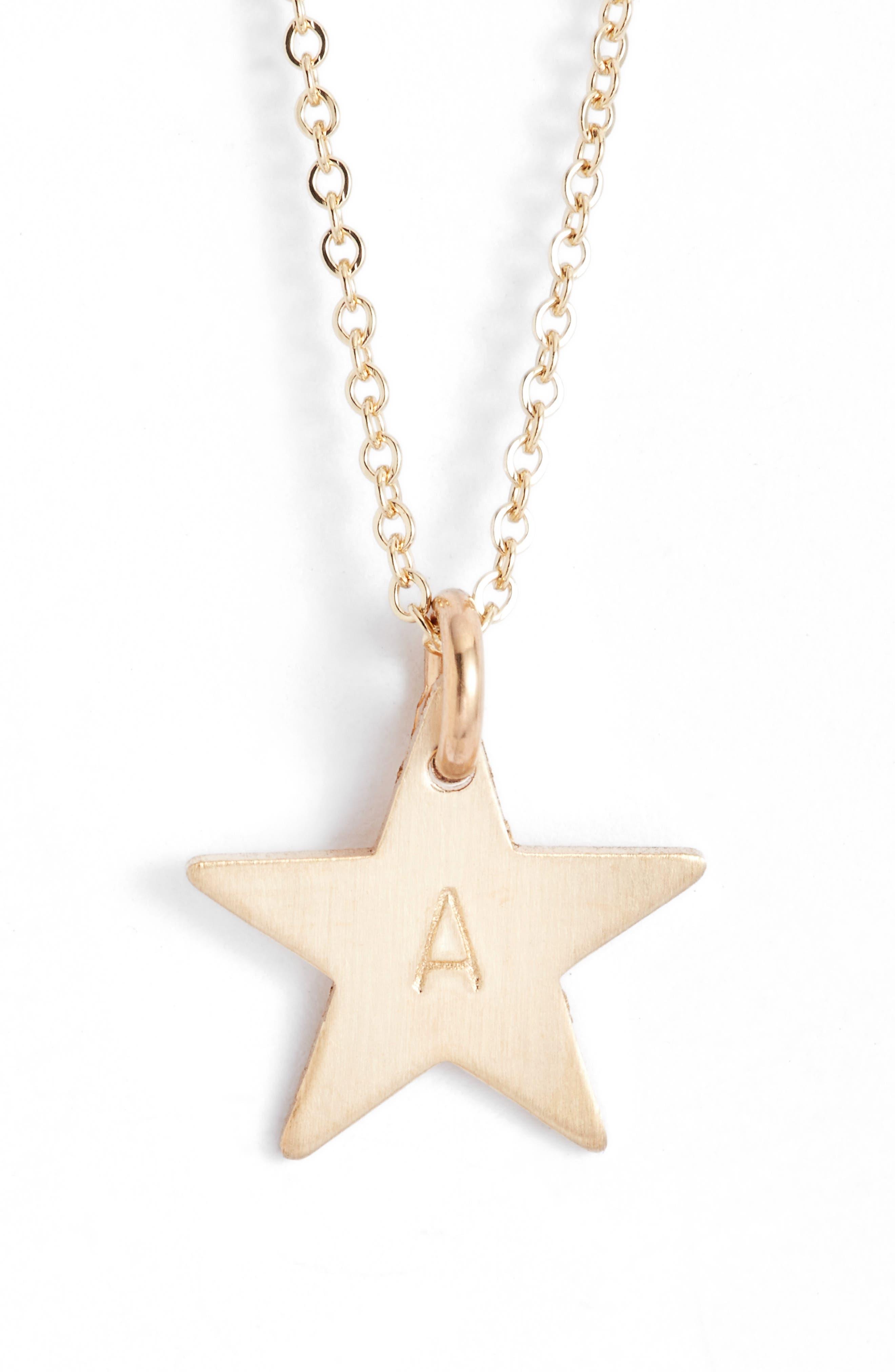 14k-Gold Fill Initial Mini Star Pendant Necklace,                             Main thumbnail 1, color,                             710
