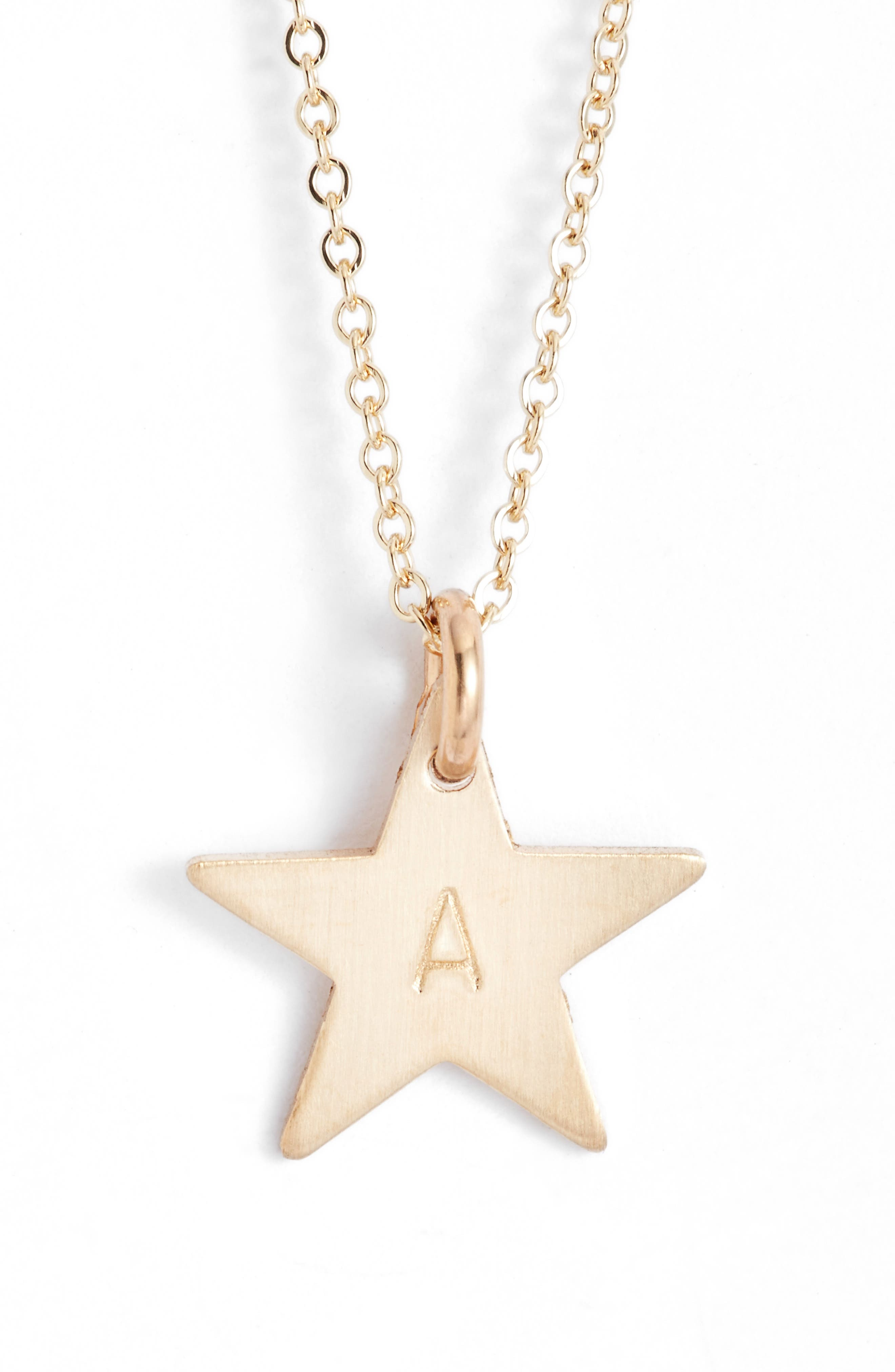 14k-Gold Fill Initial Mini Star Pendant Necklace,                         Main,                         color,