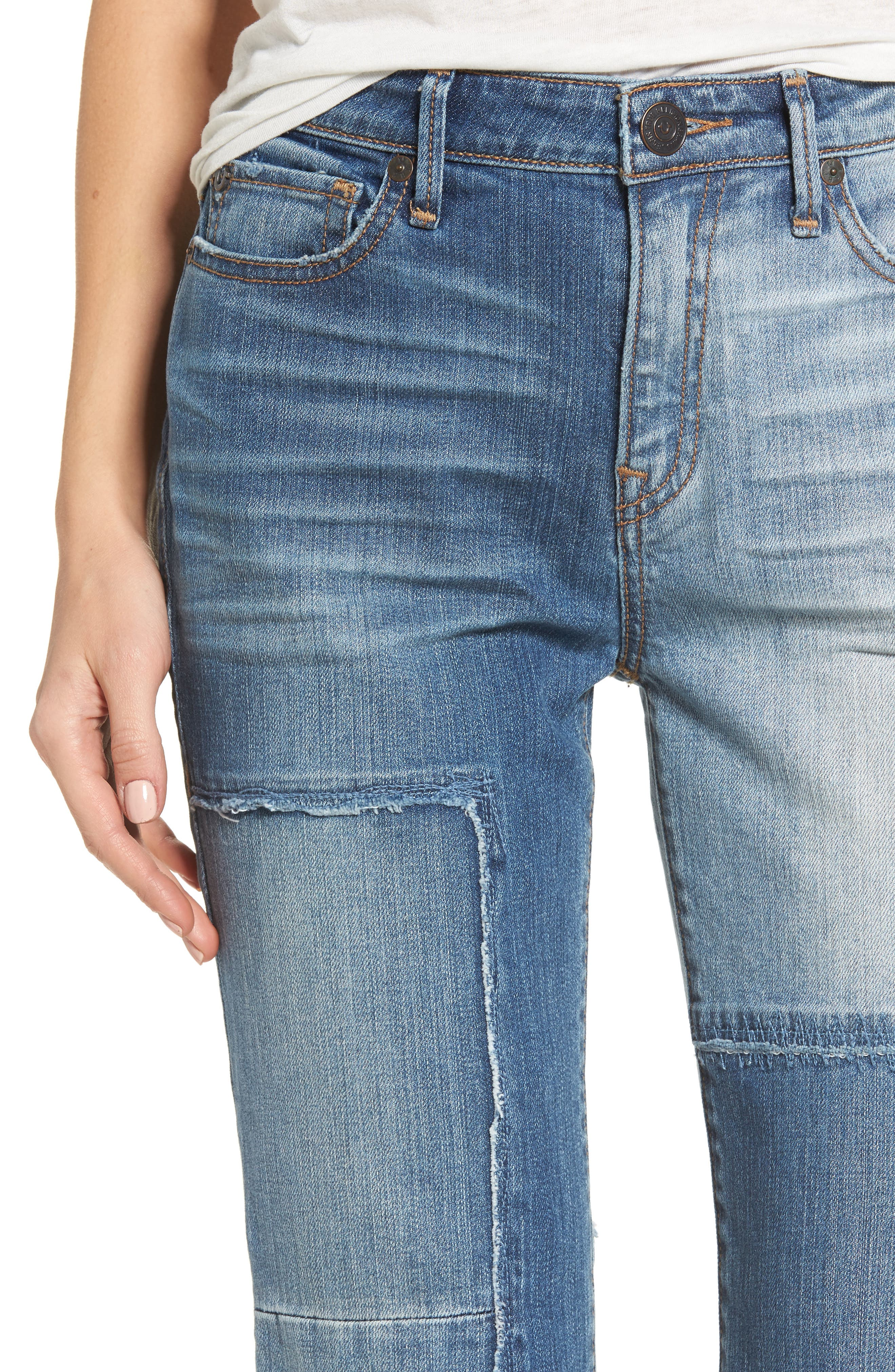 Stovepipe High Waist Crop Jeans,                             Alternate thumbnail 4, color,                             401
