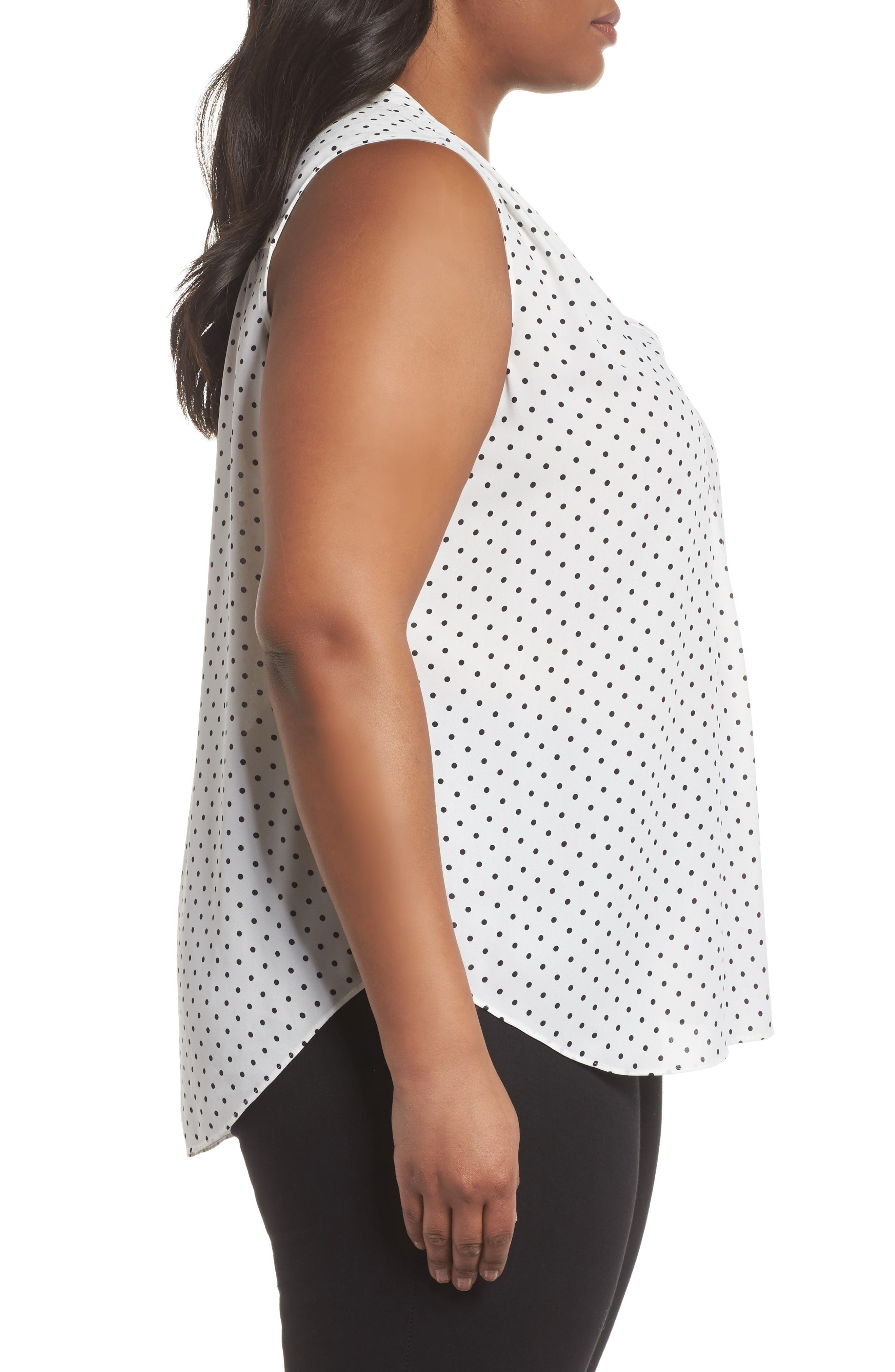 Poetic Dots Sleeveless V-Neck Blouse,                             Alternate thumbnail 3, color,                             903