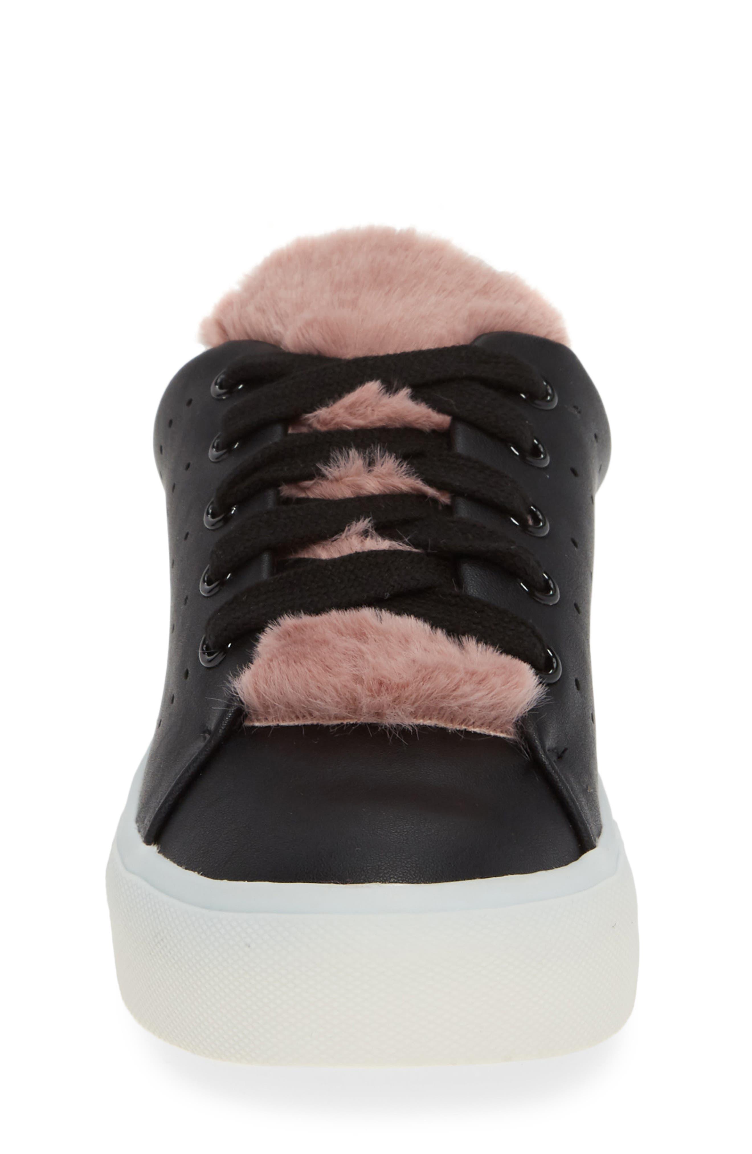 Cabel Glitter Faux Fur Sneaker,                             Alternate thumbnail 4, color,                             BLACK STELLA