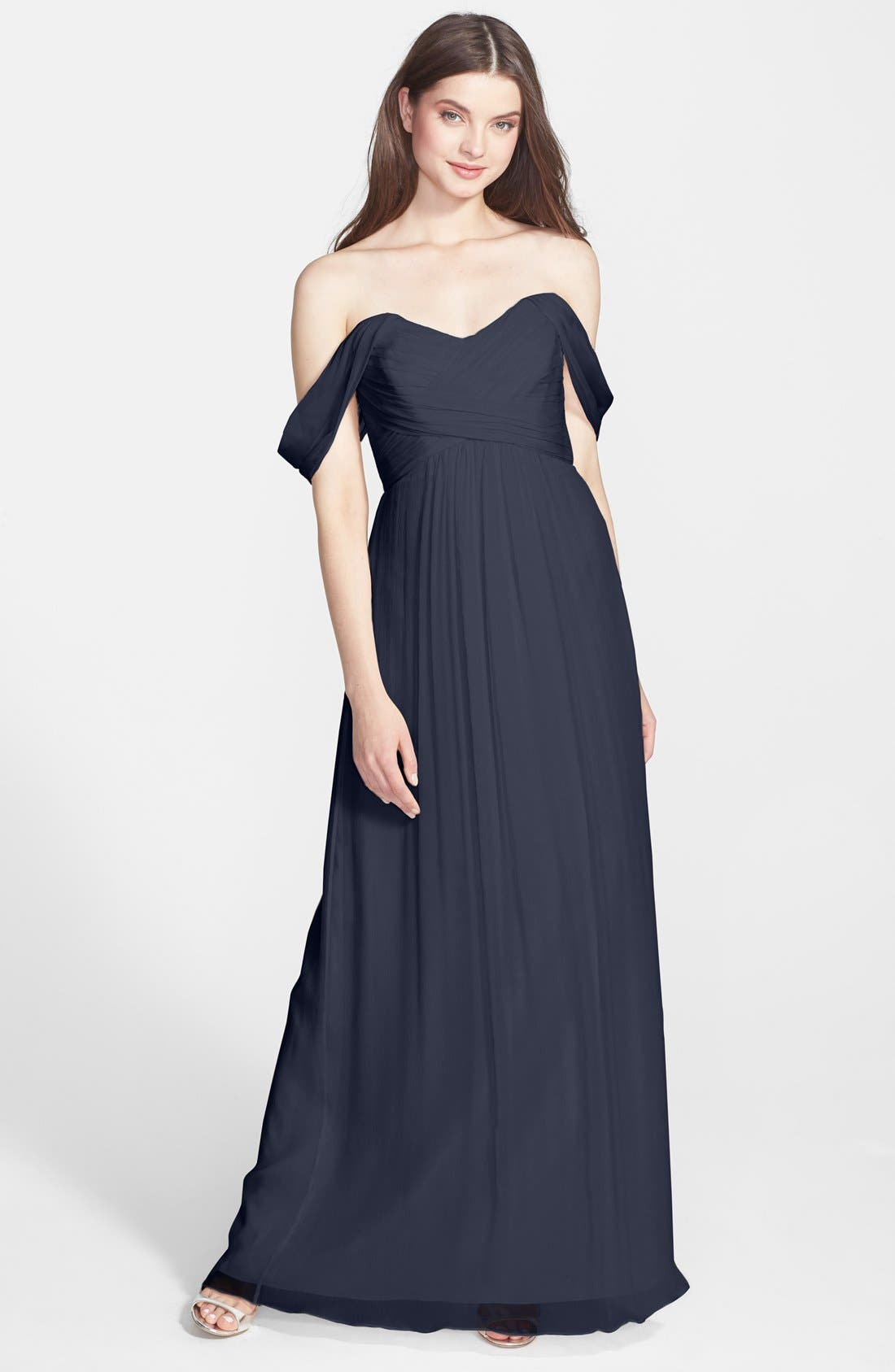 Convertible Crinkled Silk Chiffon Gown,                             Main thumbnail 8, color,