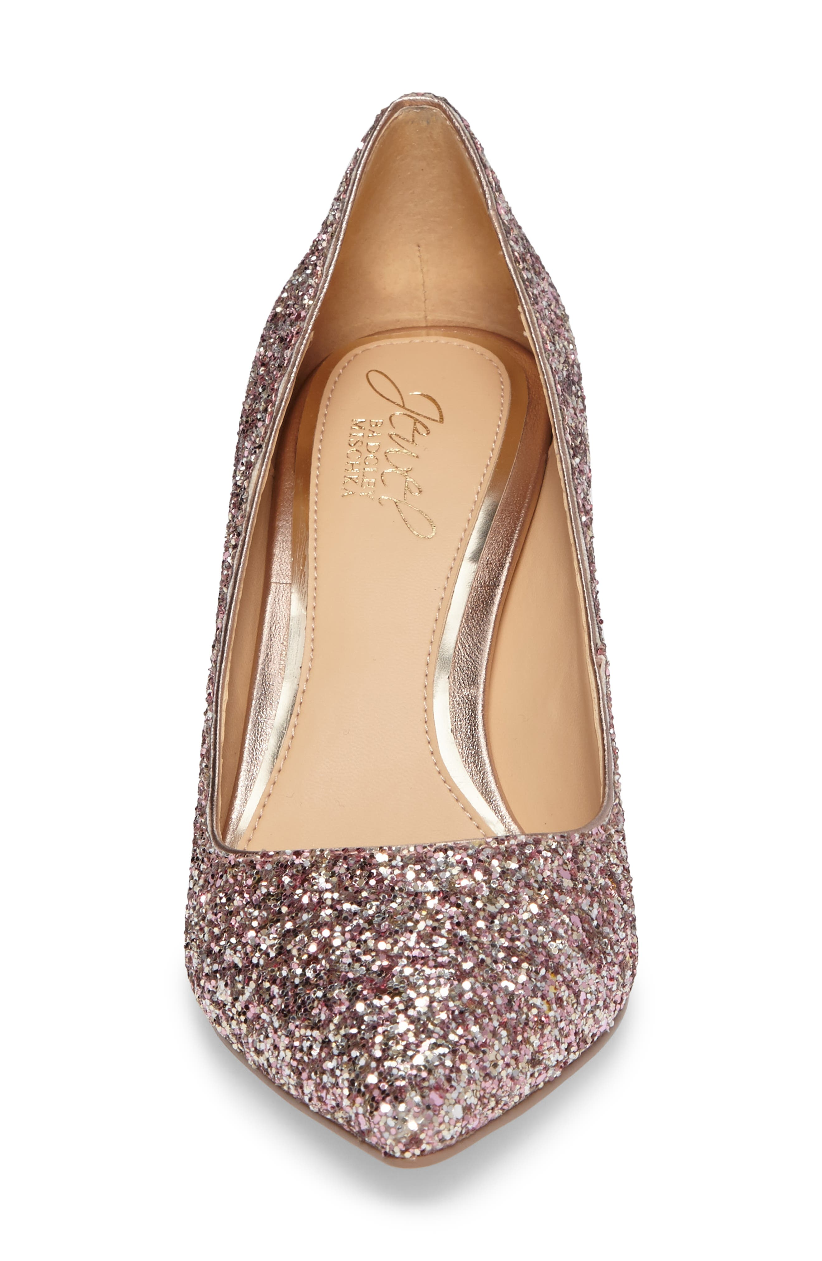 Lyla Glitter Pointy Toe Pump,                             Alternate thumbnail 4, color,                             ROSE GOLD