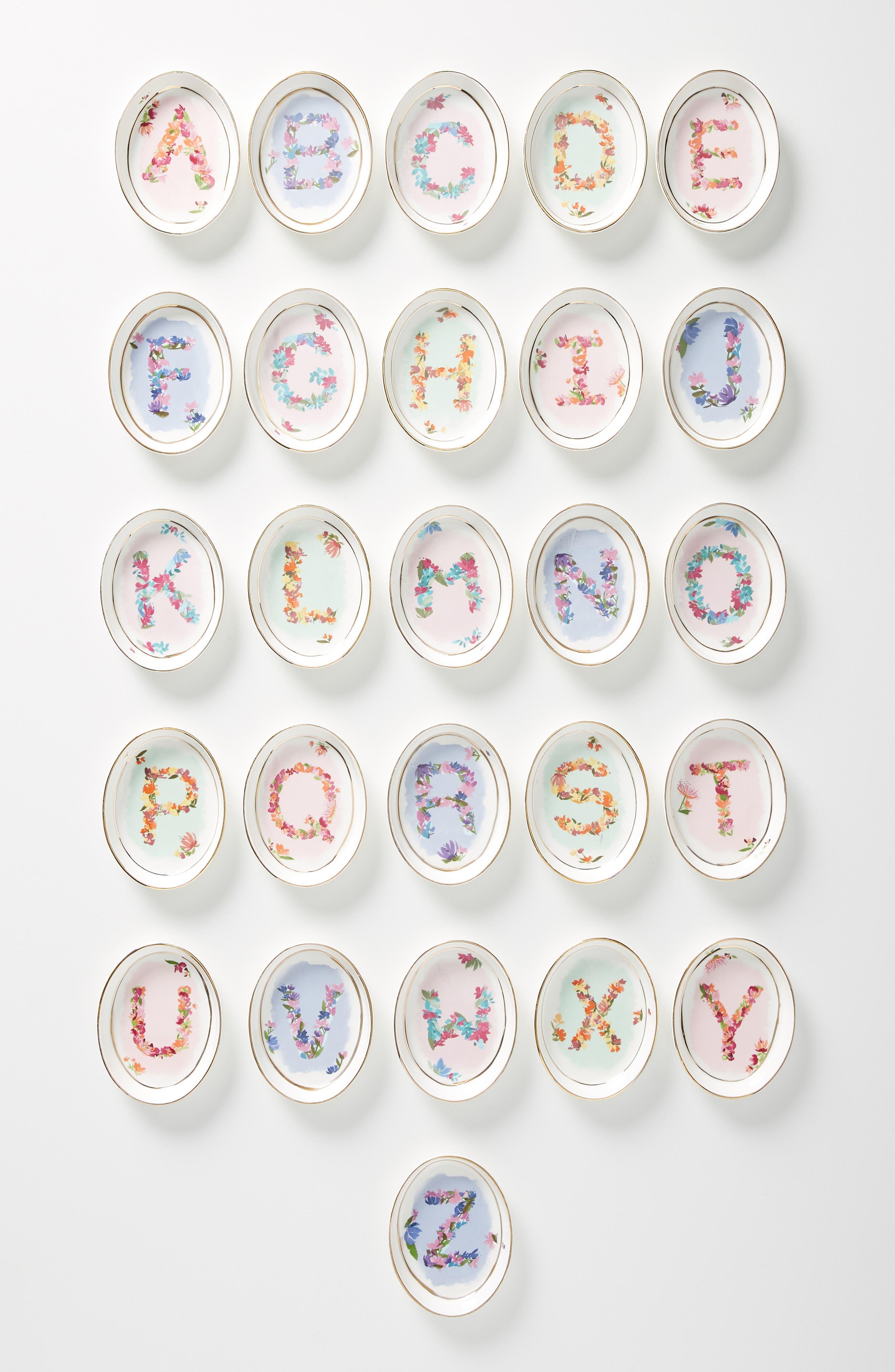 ANTHROPOLOGIE,                             Kiana Mosley Monogram Trinket Dish,                             Main thumbnail 1, color,                             100