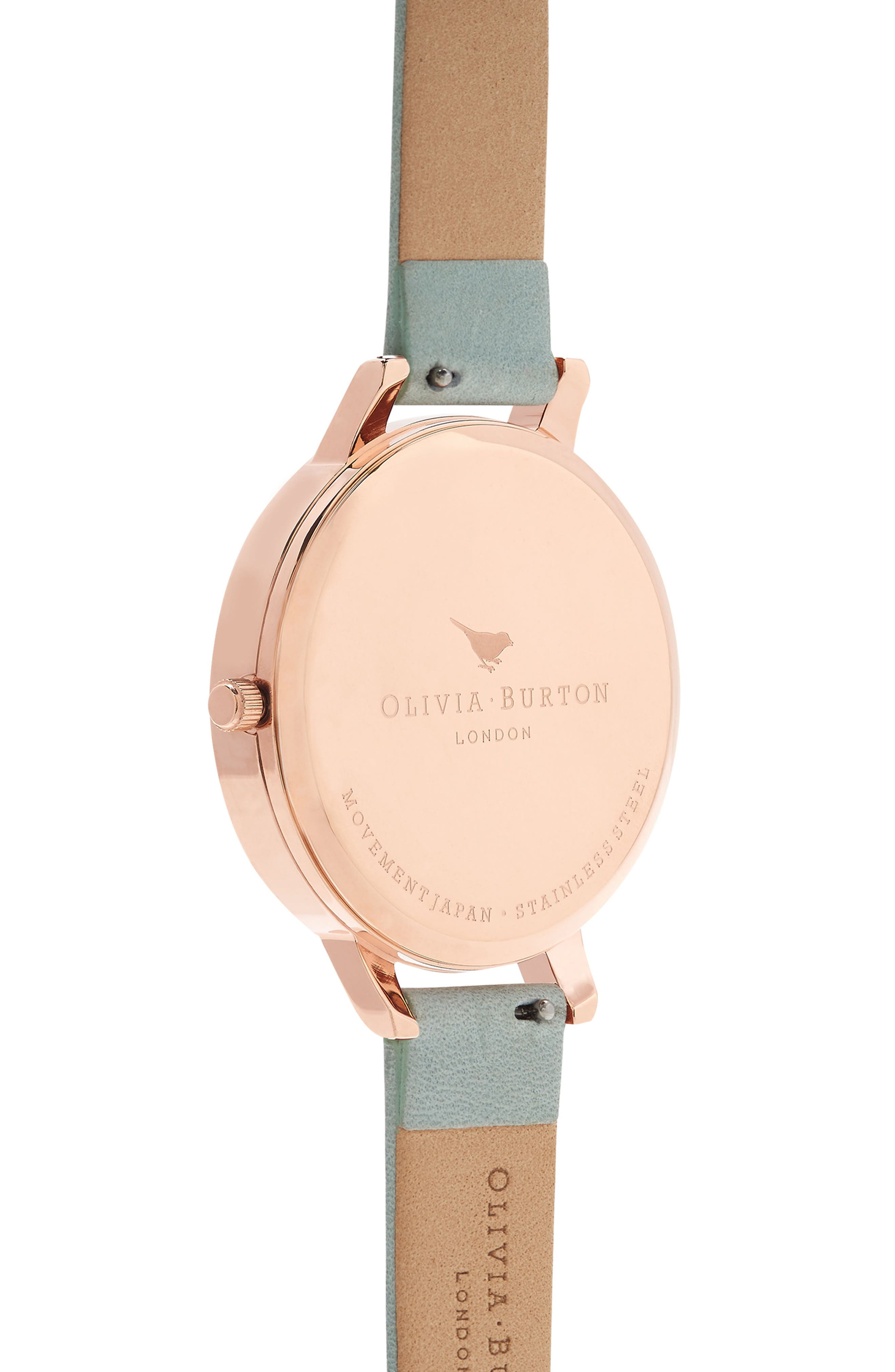 Leather Strap Watch, 38mm,                             Alternate thumbnail 2, color,                             SAGE/ WHITE/ ROSE GOLD