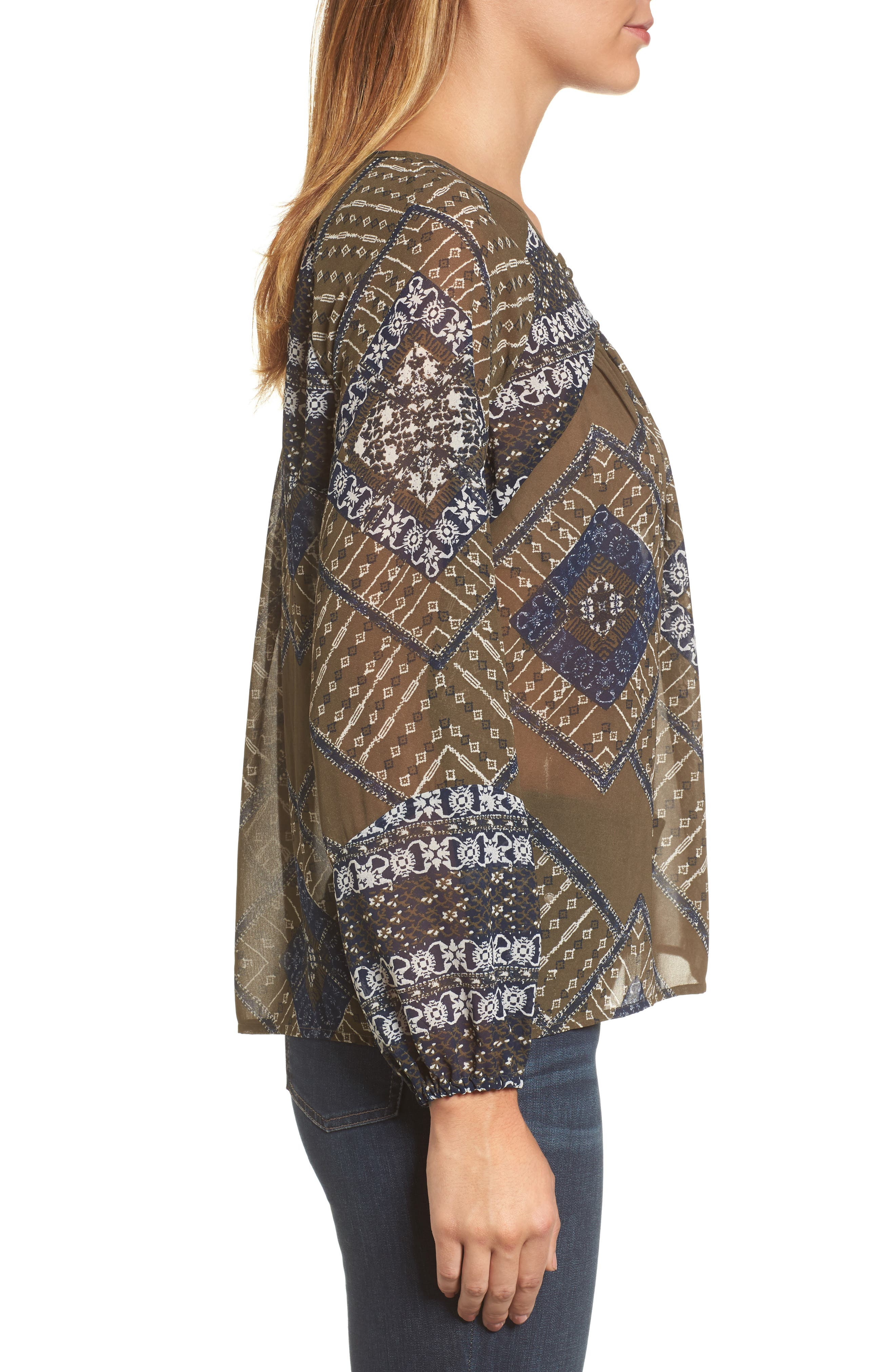 Mixed Print Peasant Top,                             Alternate thumbnail 3, color,                             340