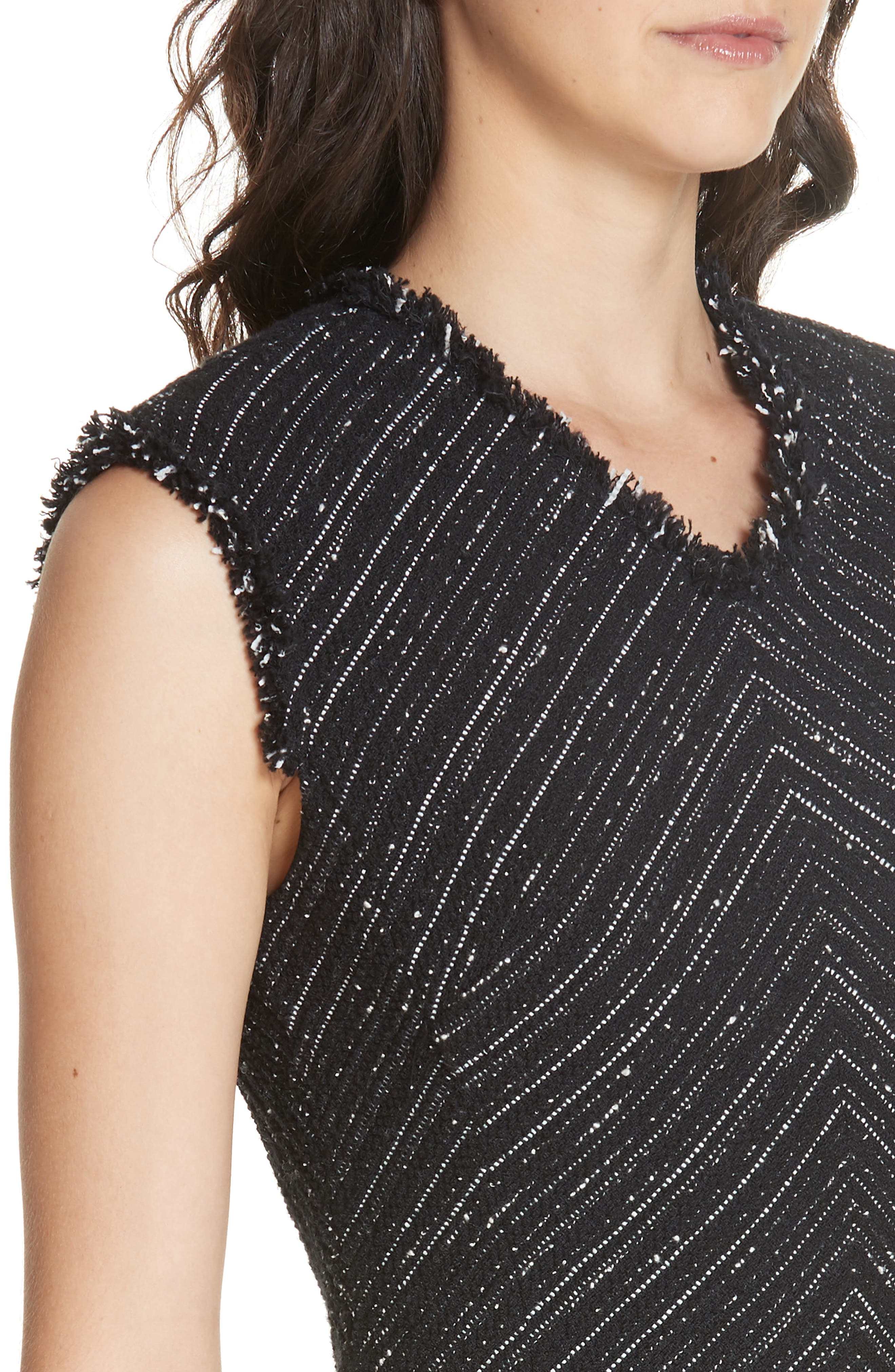 Stretch Cotton Blend Tweed Sheath Dress,                             Alternate thumbnail 4, color,                             BLACK COMBO