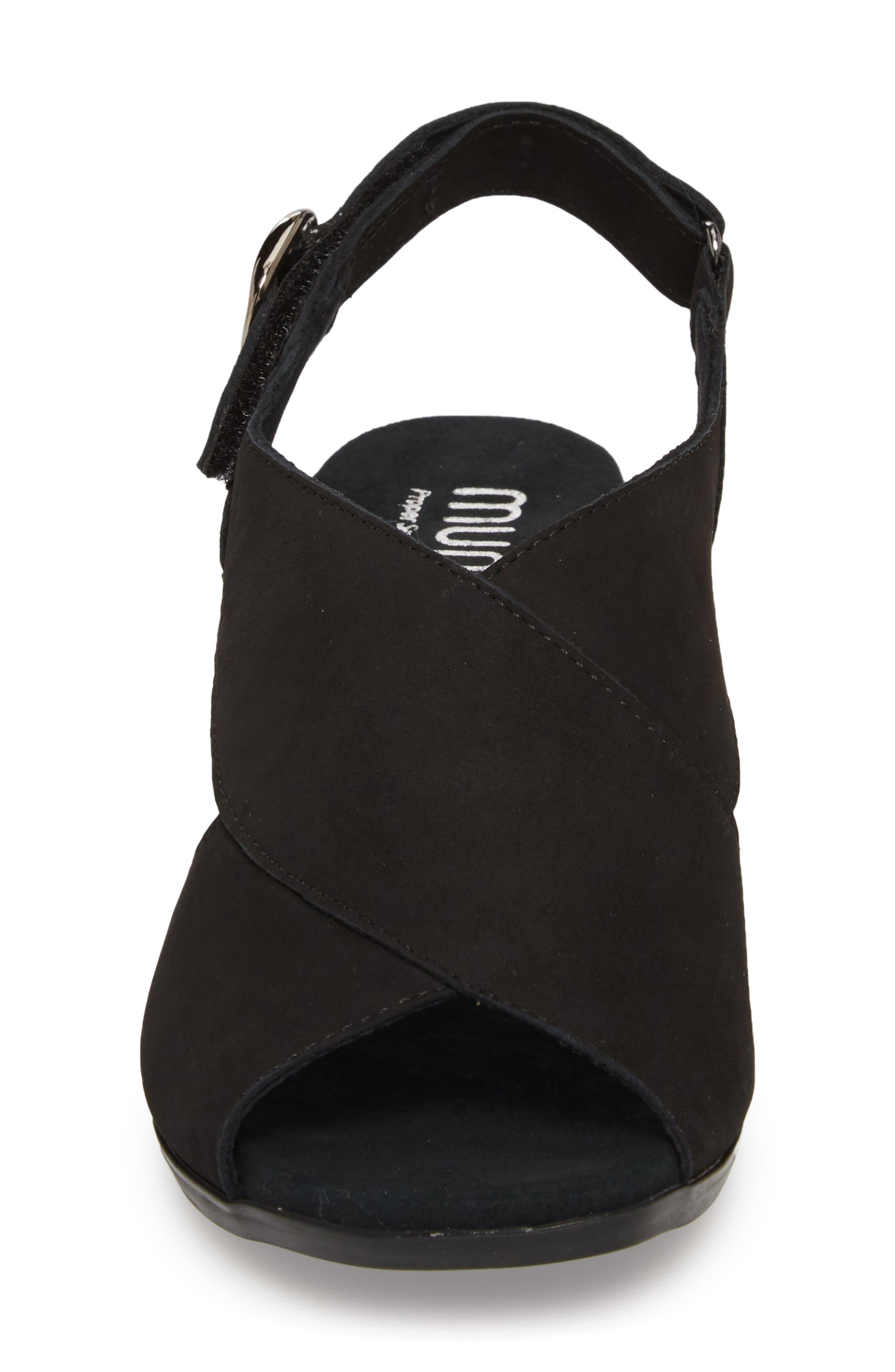 Laine Block Heel Sandal,                             Alternate thumbnail 4, color,                             BLACK NUBUCK LEATHER